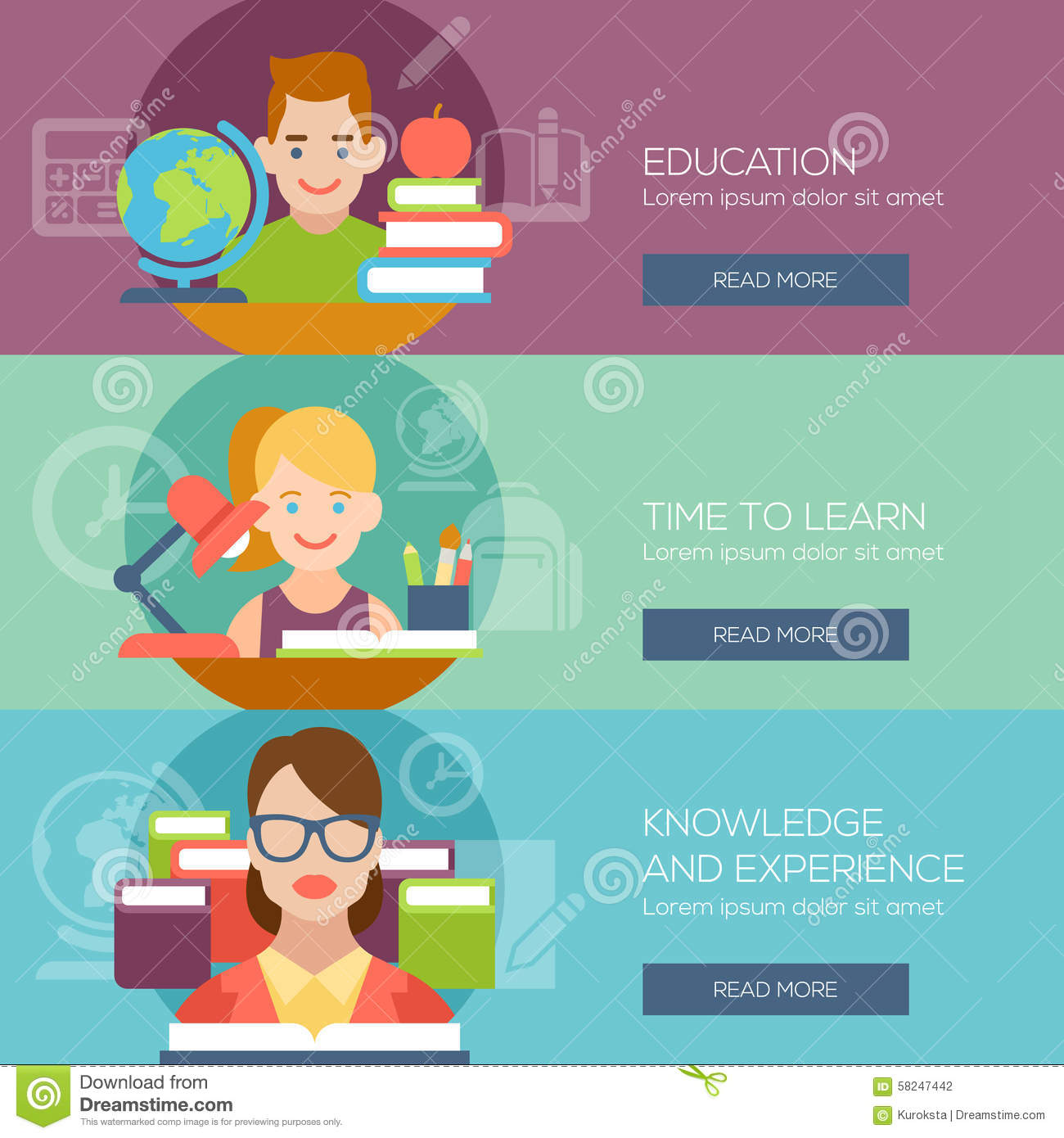 Book Icon Vector Male Student Or Teacher Person Profile: Flat Education Student Pupil Kid Teacher People Stock