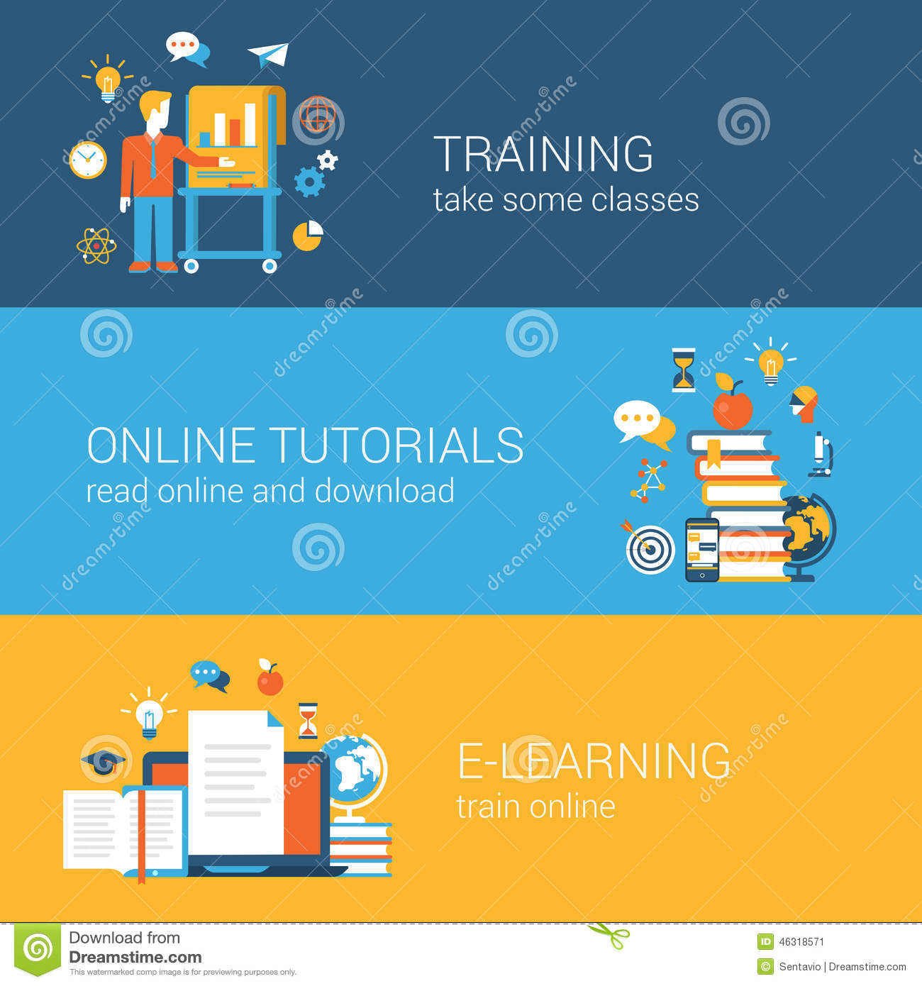 flat education  training  online tutorial  e