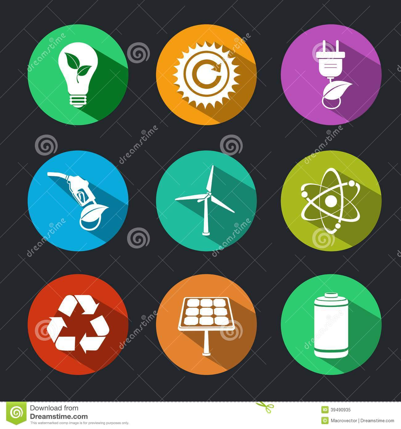 Flat Energy And Ecology Icons Set Stock Vector Image
