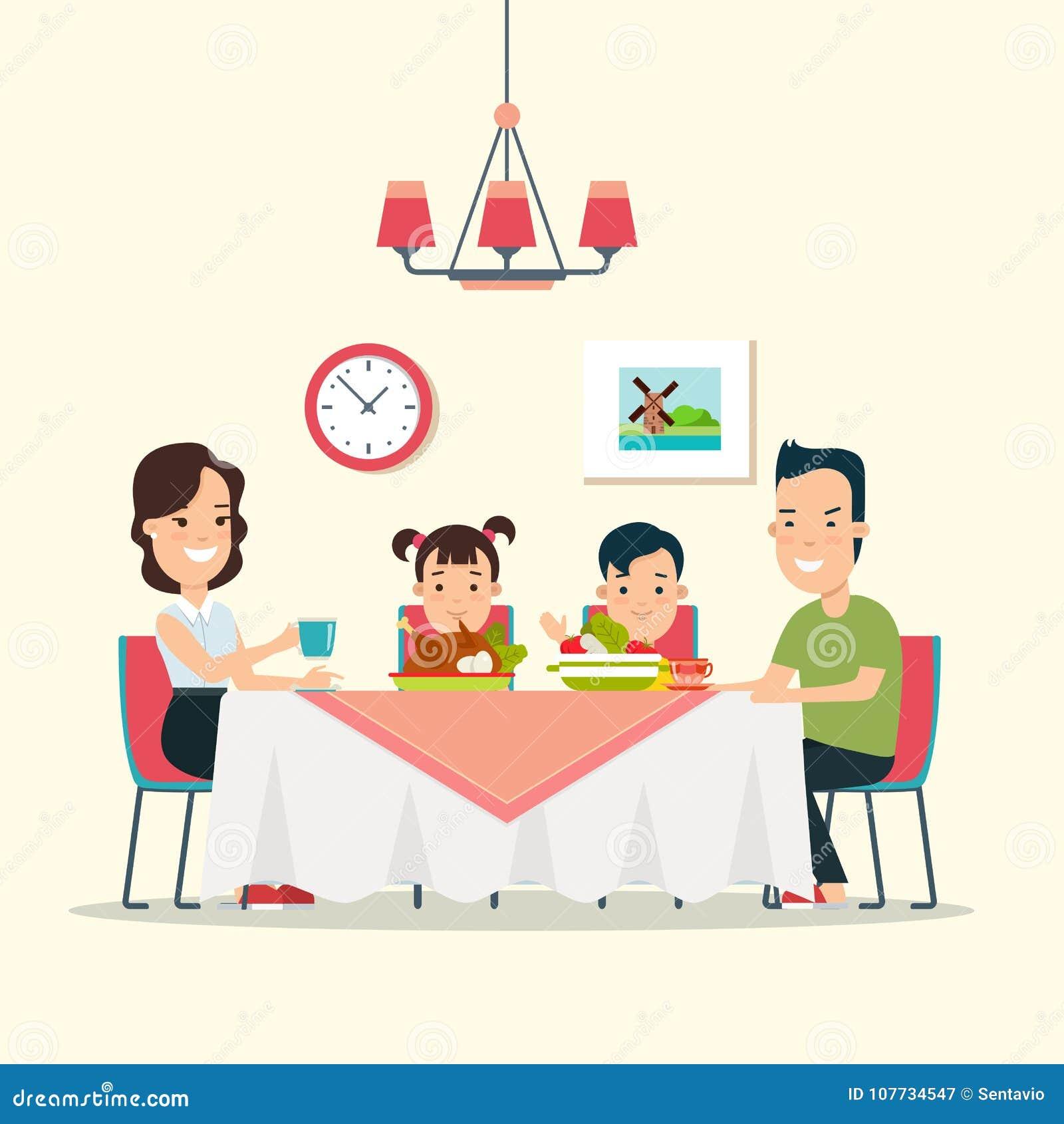 Flat Family Dinner Illustration  Mother Fat Stock