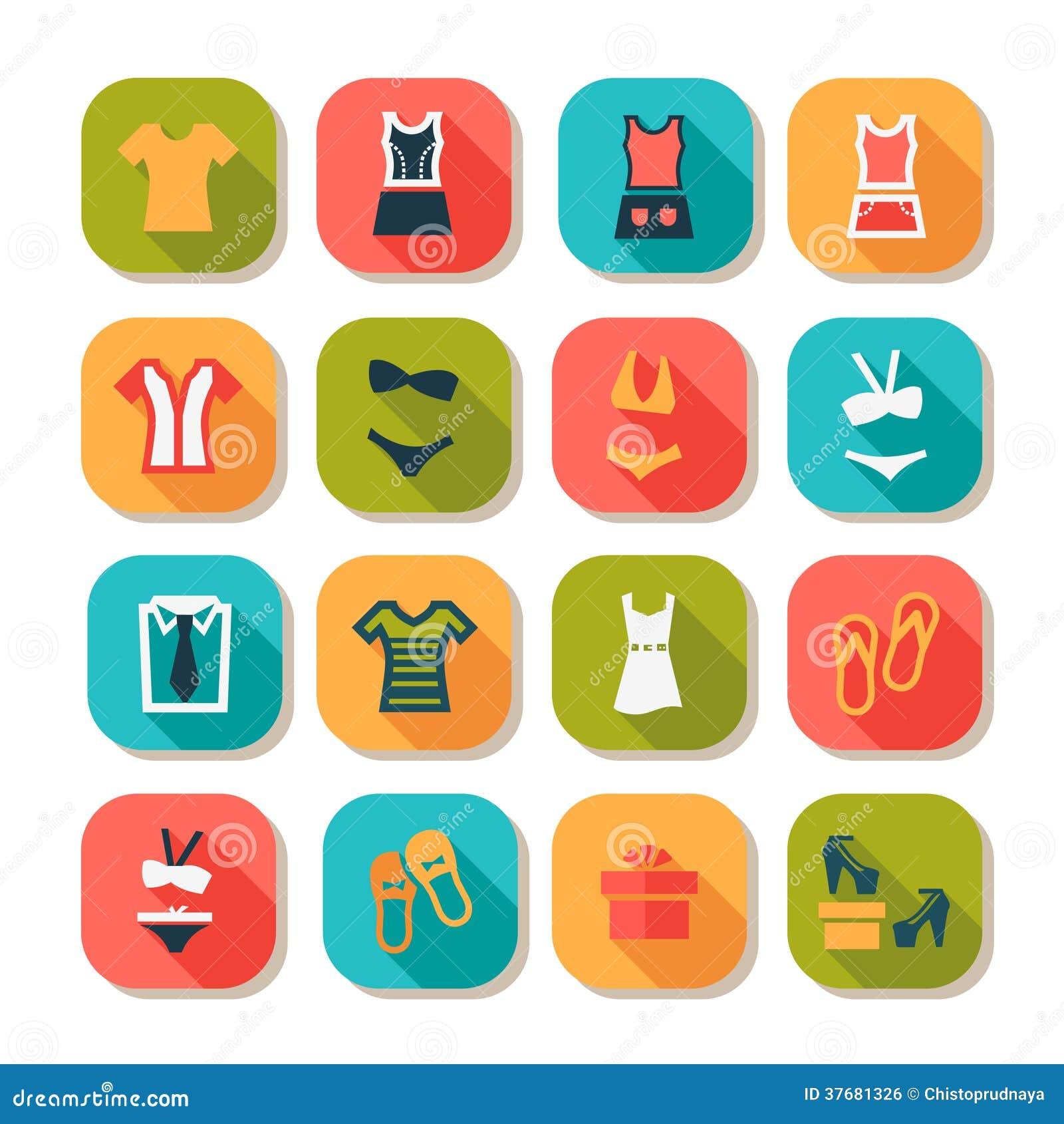Flat Fashion Clothes Icons Royalty Free Stock Image Image 37681326