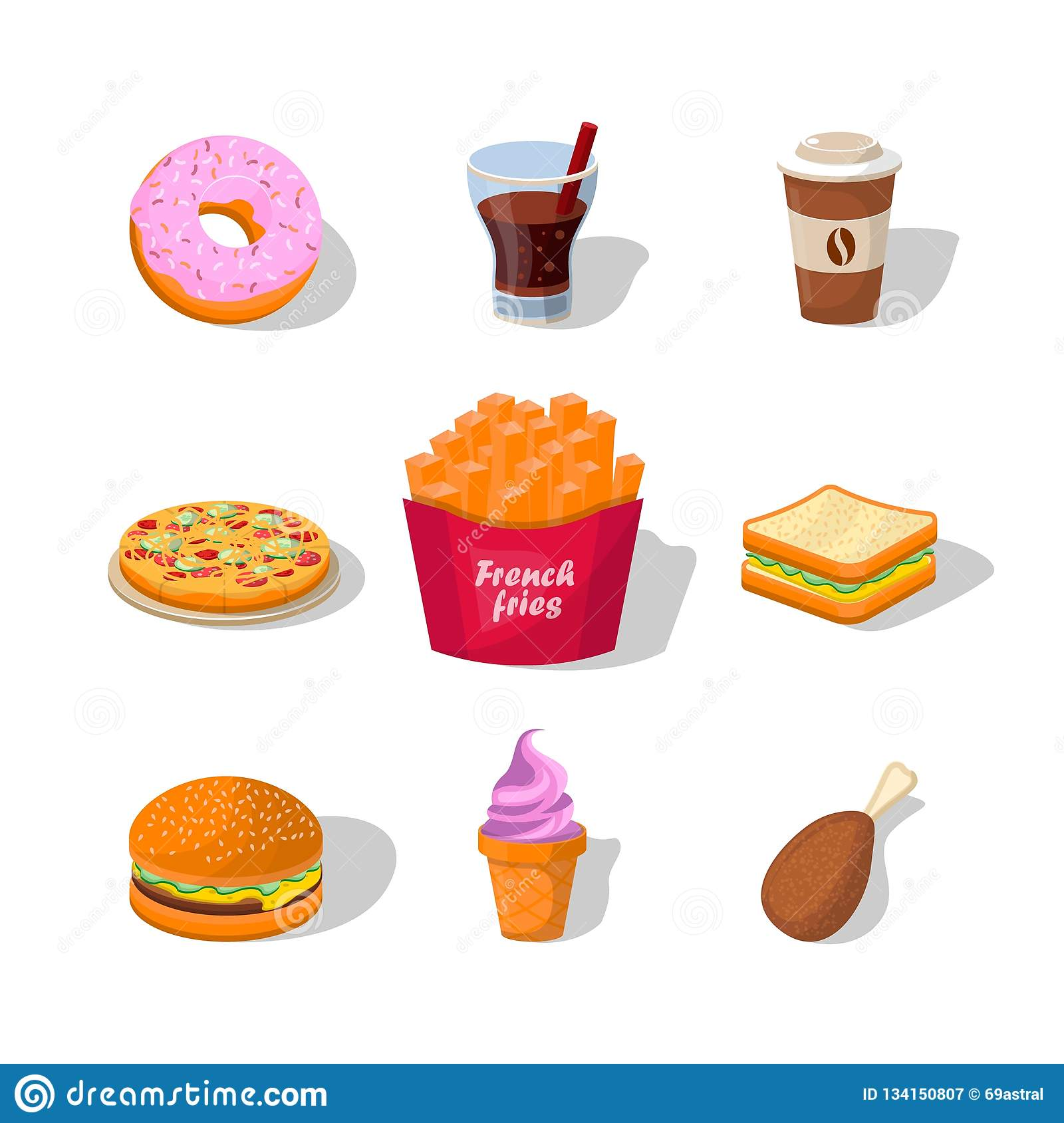 Flat fast food colorful illustrations vector isolated on white background.