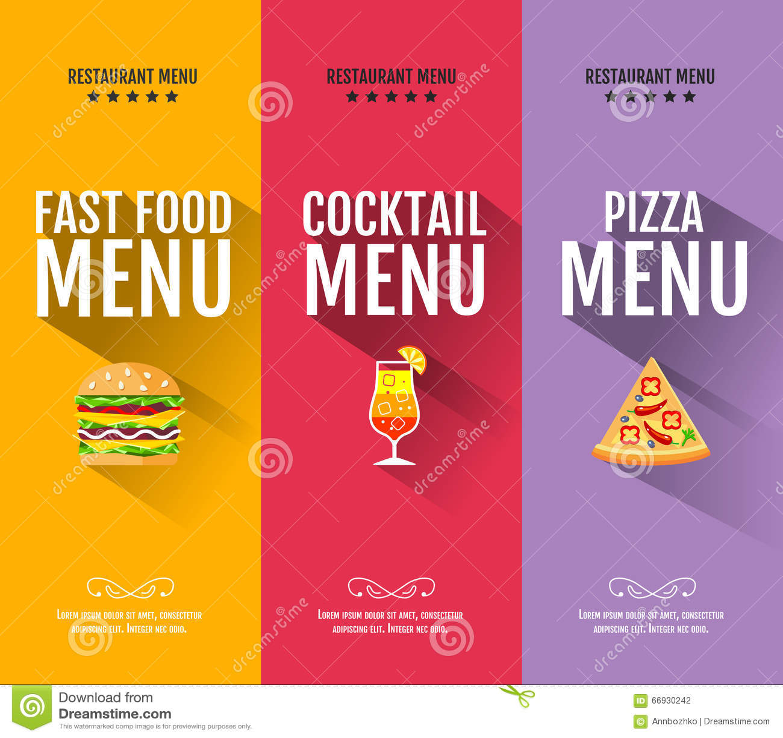 Flat Fast Food Menu Typography Design Stock Vector