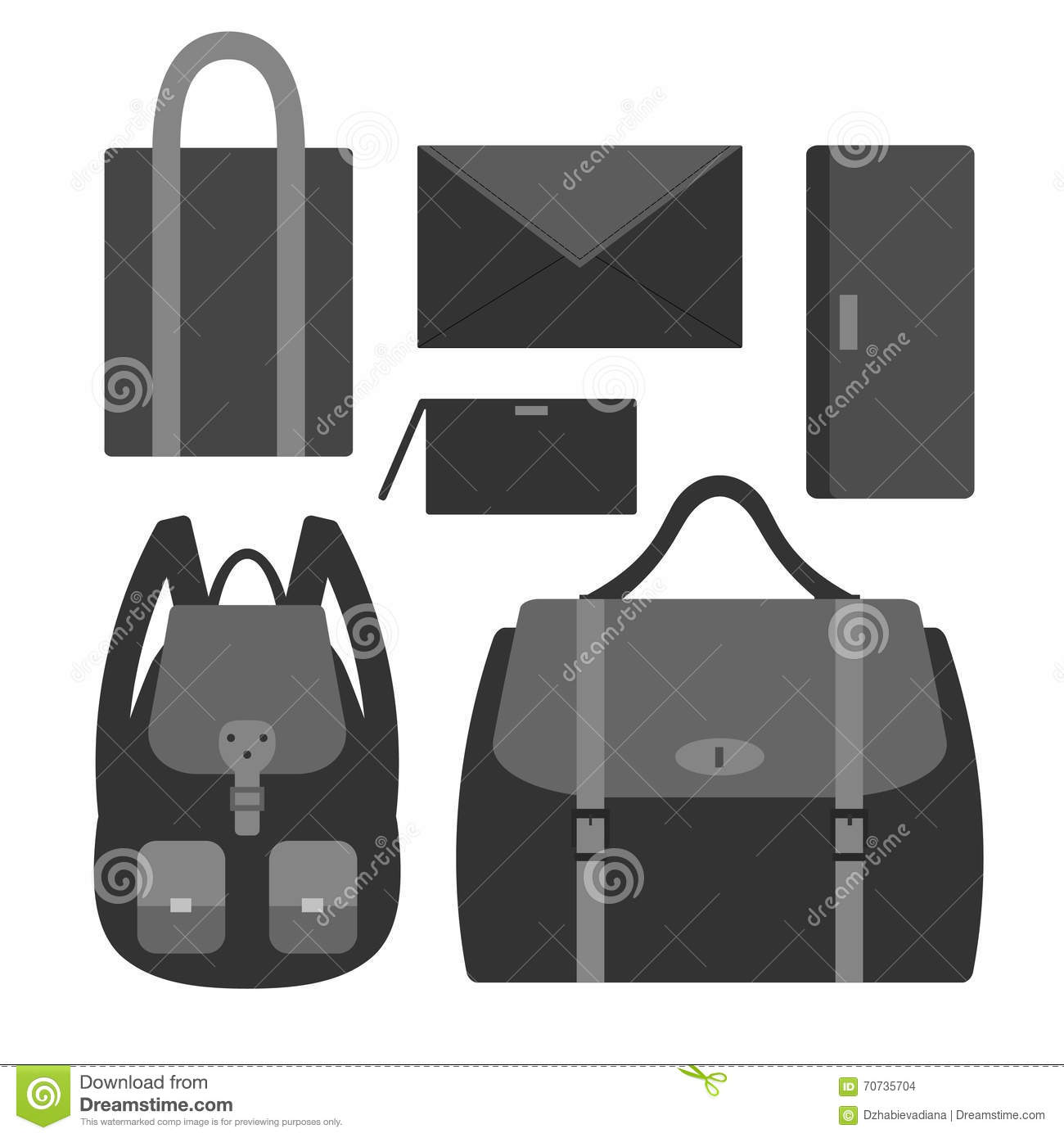 ea9c0d52296 Flat vector icon set with styles of female bags. 6 types of woman handbags   backpack