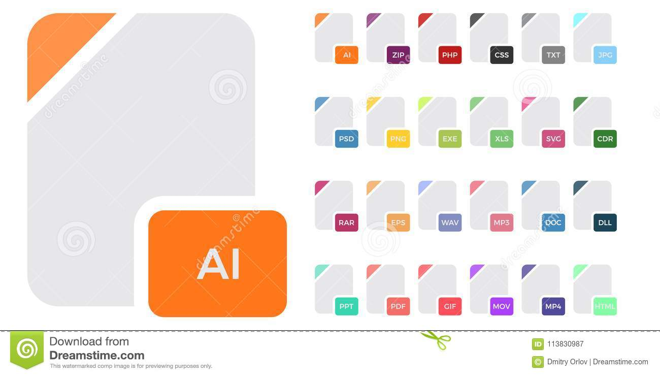 Flat File Format Icons  Audio, Video, Image, System, Archive, Code
