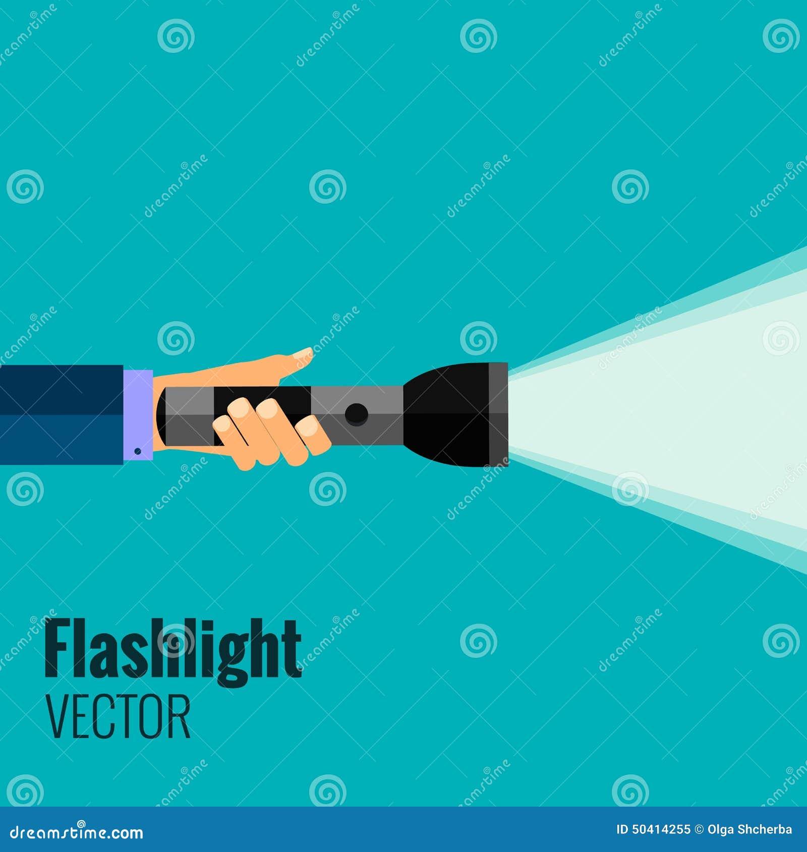 Flat flashlight stock vector. Illustration of optimization - 50414255 for Flash Light Vector Background  34eri