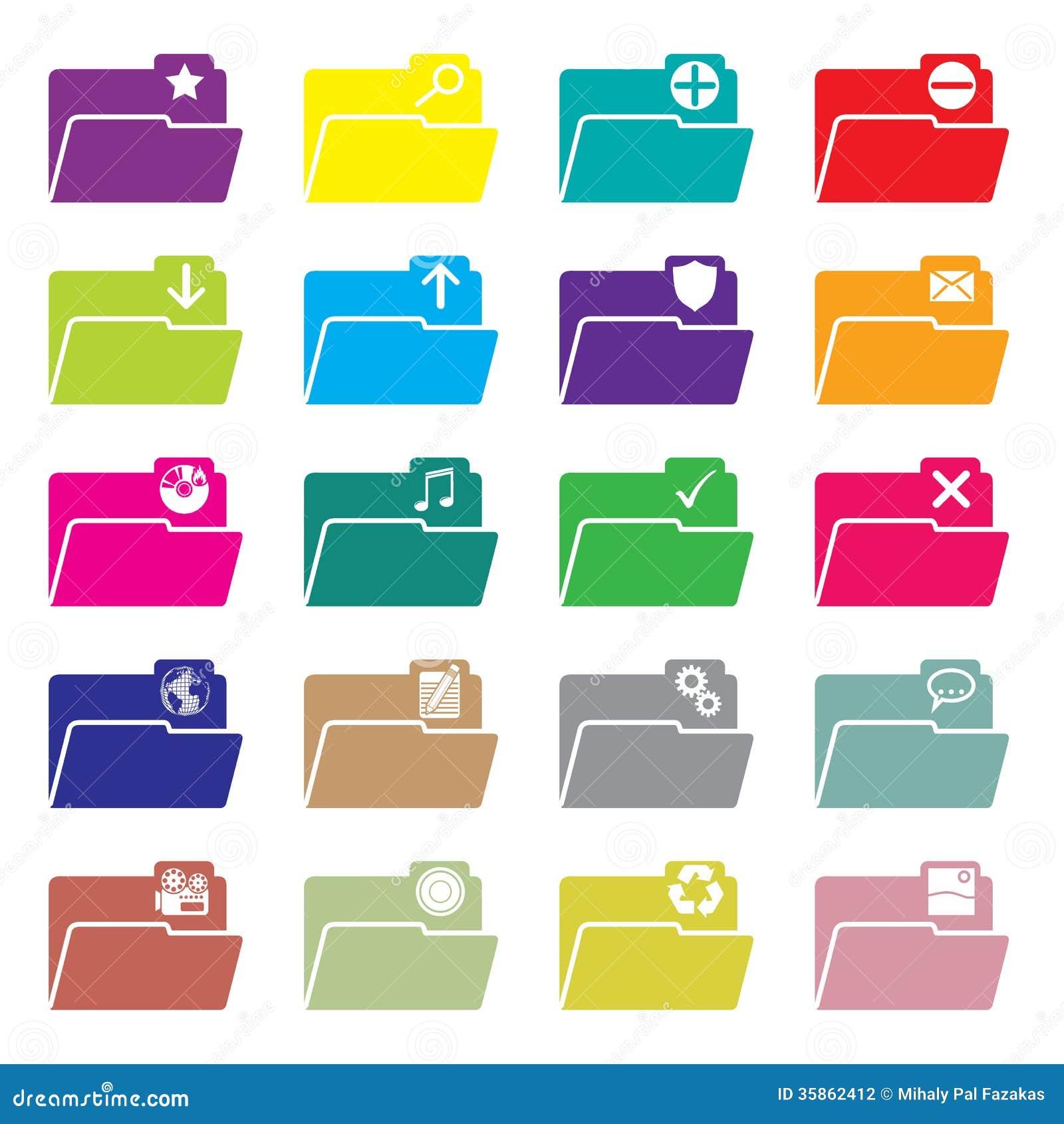 Flat folder icon set of 20 stock vector. Image of isolated ...