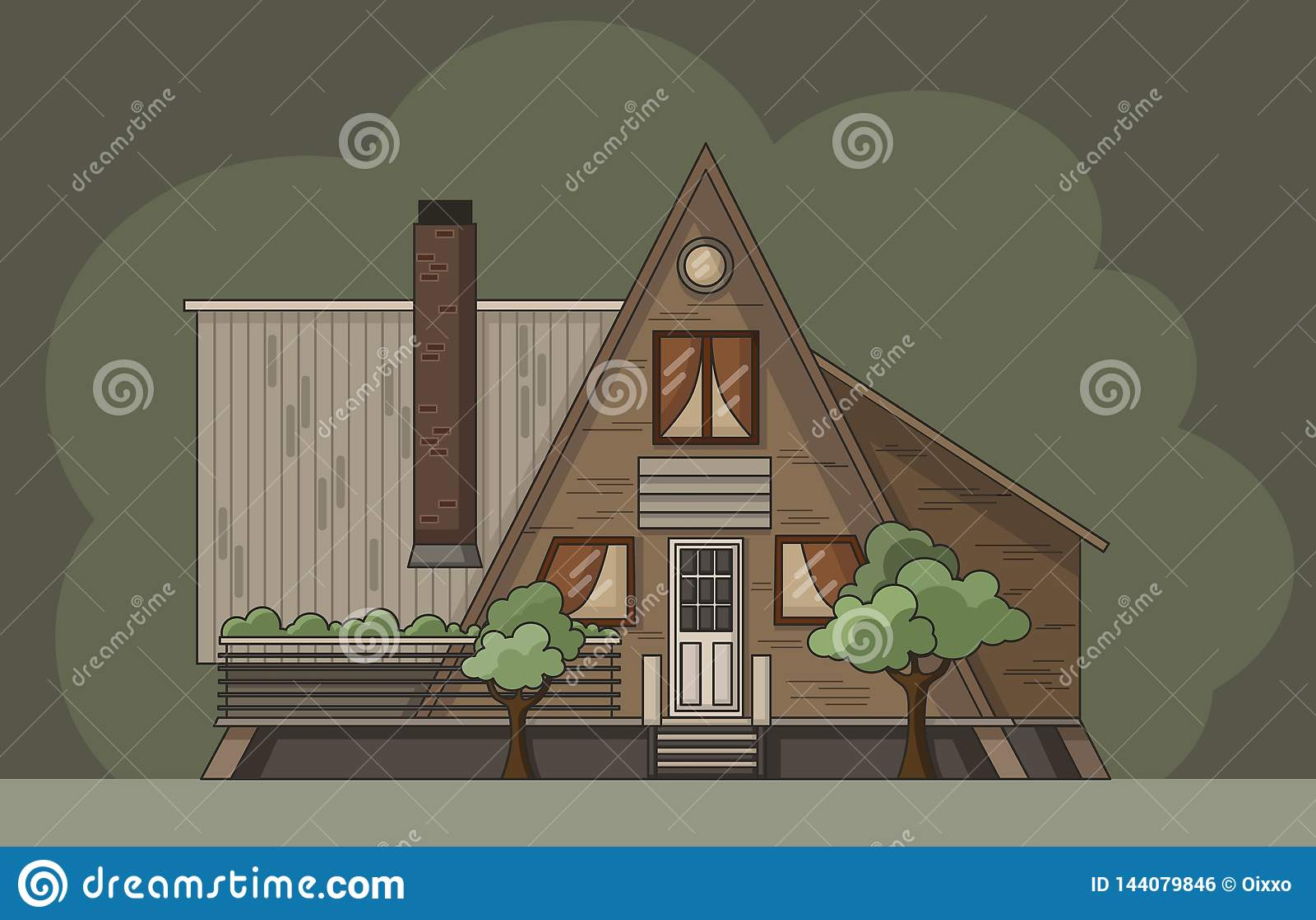 Flat forest cabin log. Vector colorful illustration
