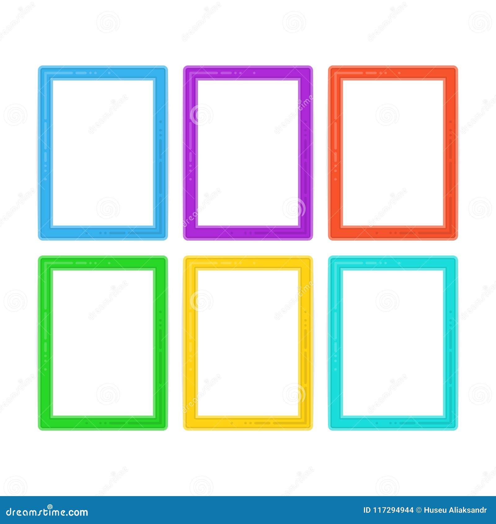 Flat frame set. stock vector. Illustration of blank - 117294944