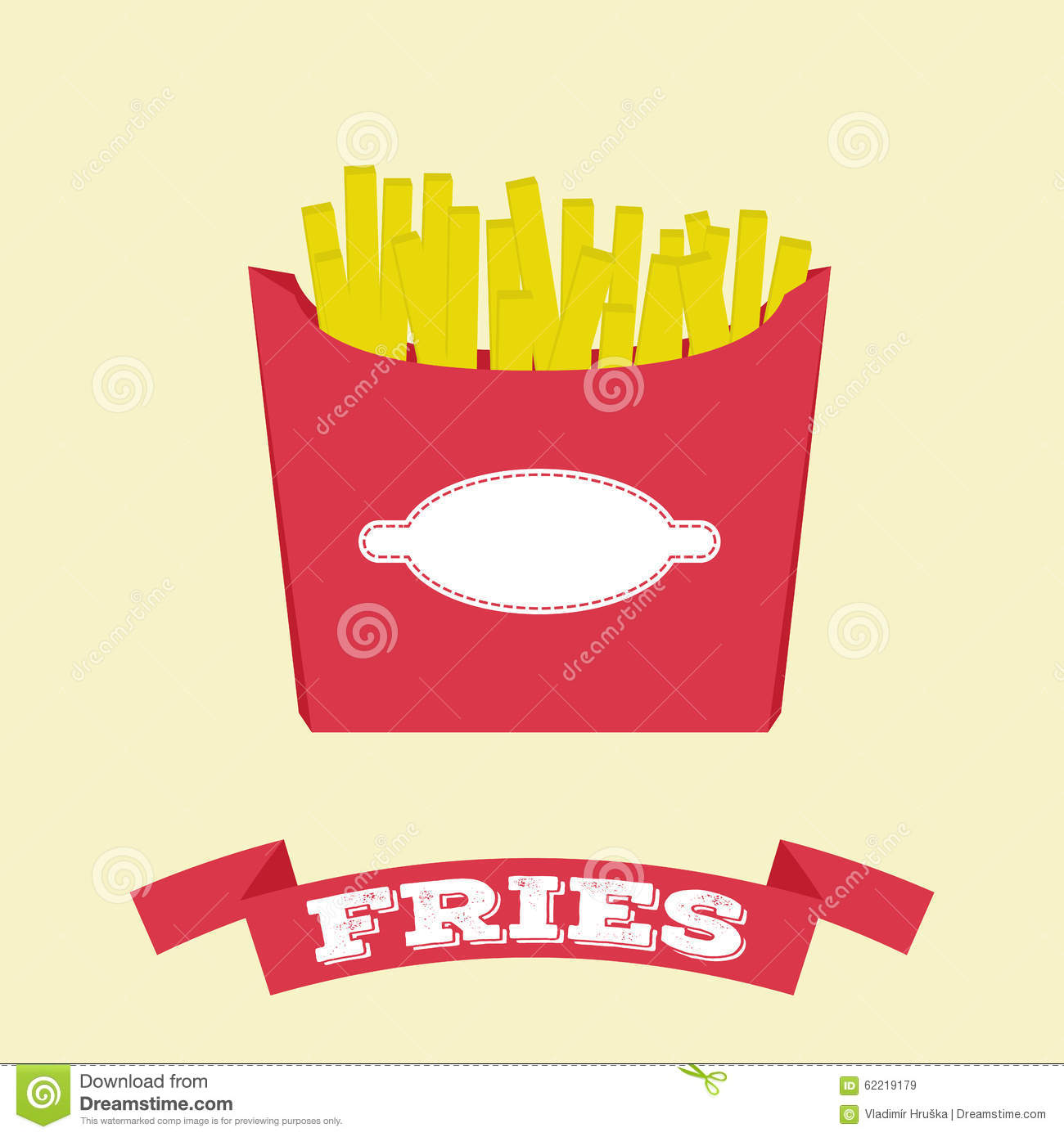 Flat Fries In Box Vector Fast Food Stock Vector Illustration Of
