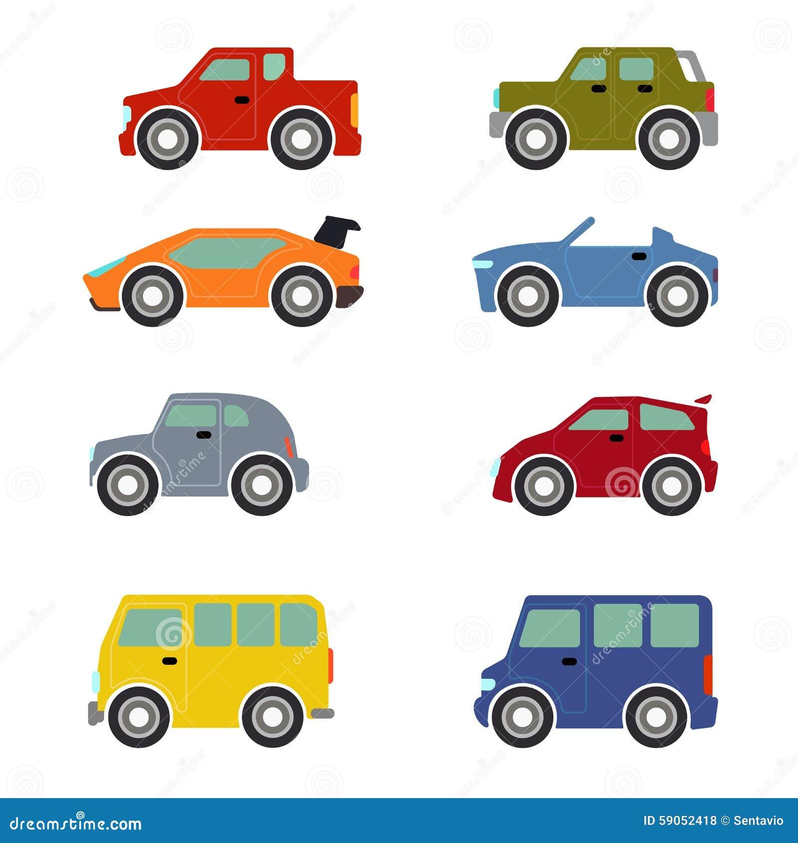 Flat Funy Cartoon City Transport Icon Set Cars Stock