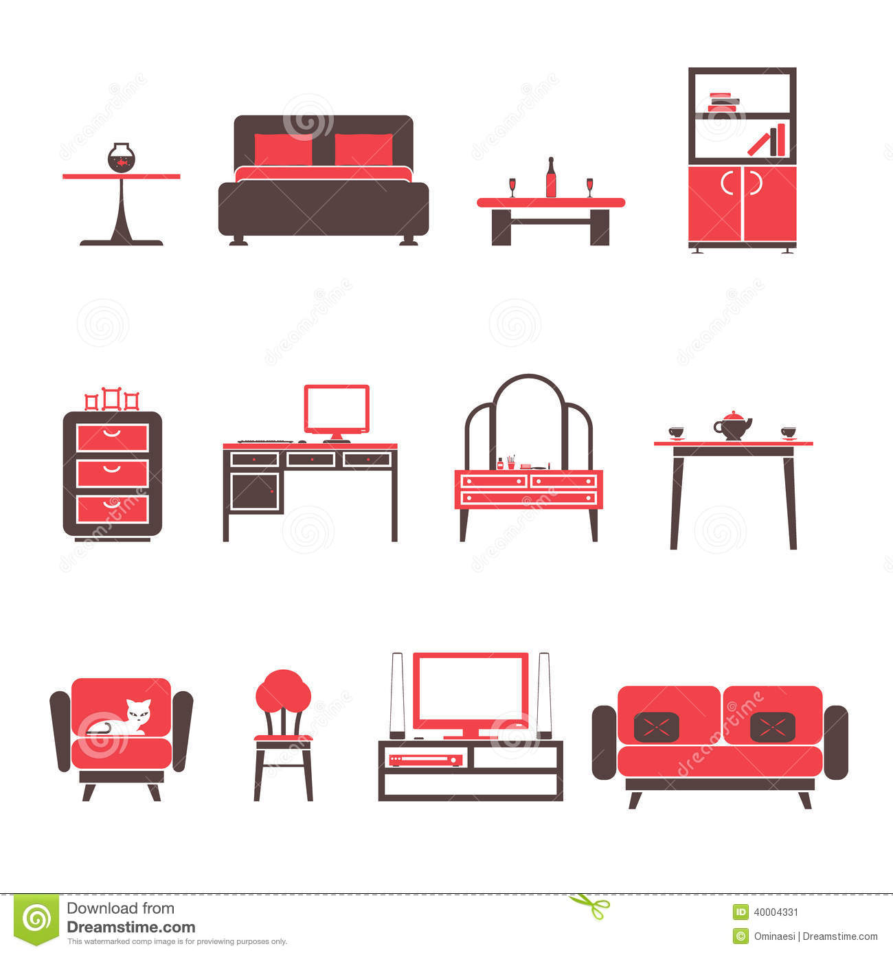 Furniture Ideas For Living Room Stock Vector: Flat Furniture Icons And Symbols Set For Living Room