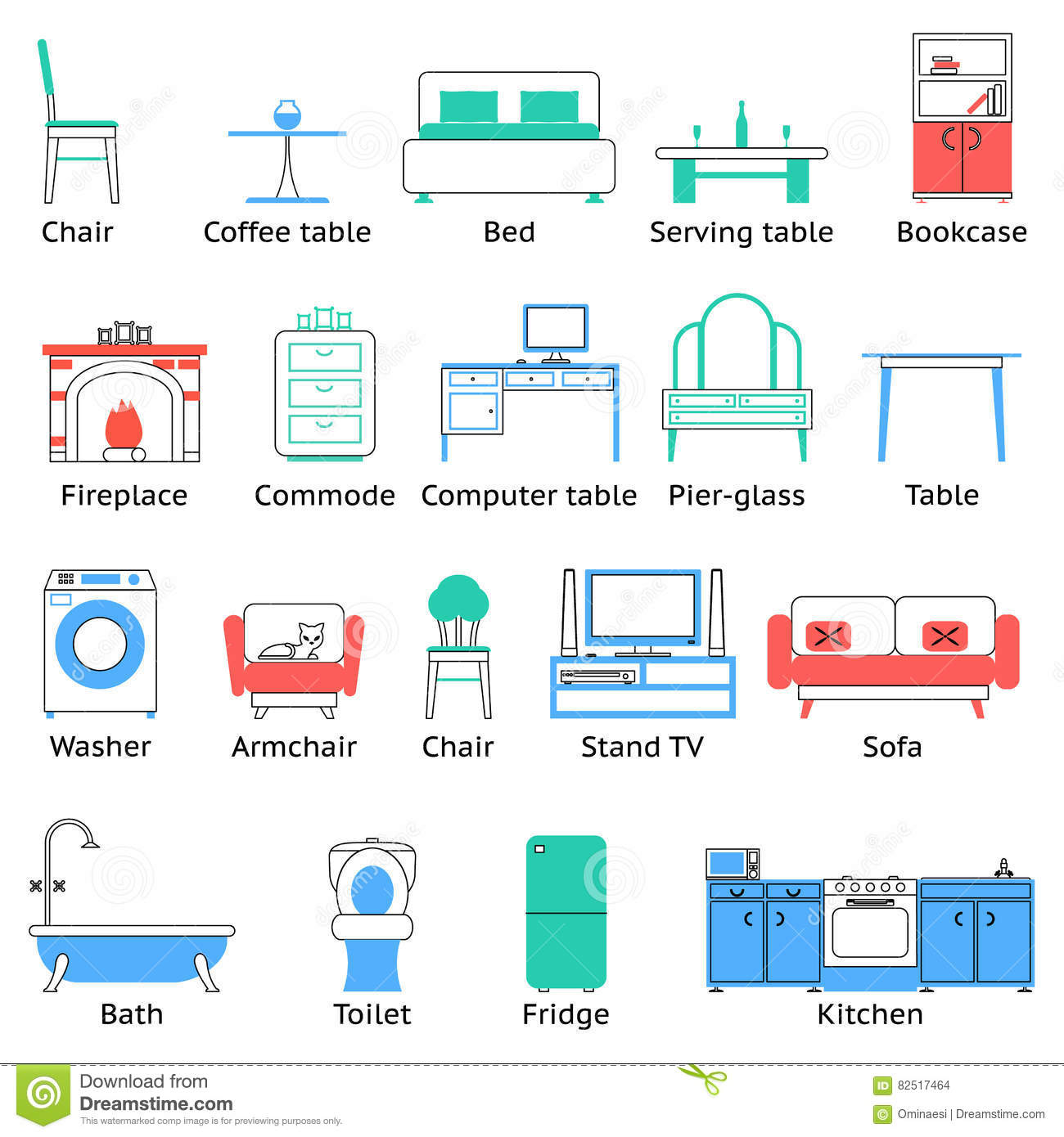 Kitchen Cabinets For Less Flat Furniture Icons And Symbols Set For Living Room