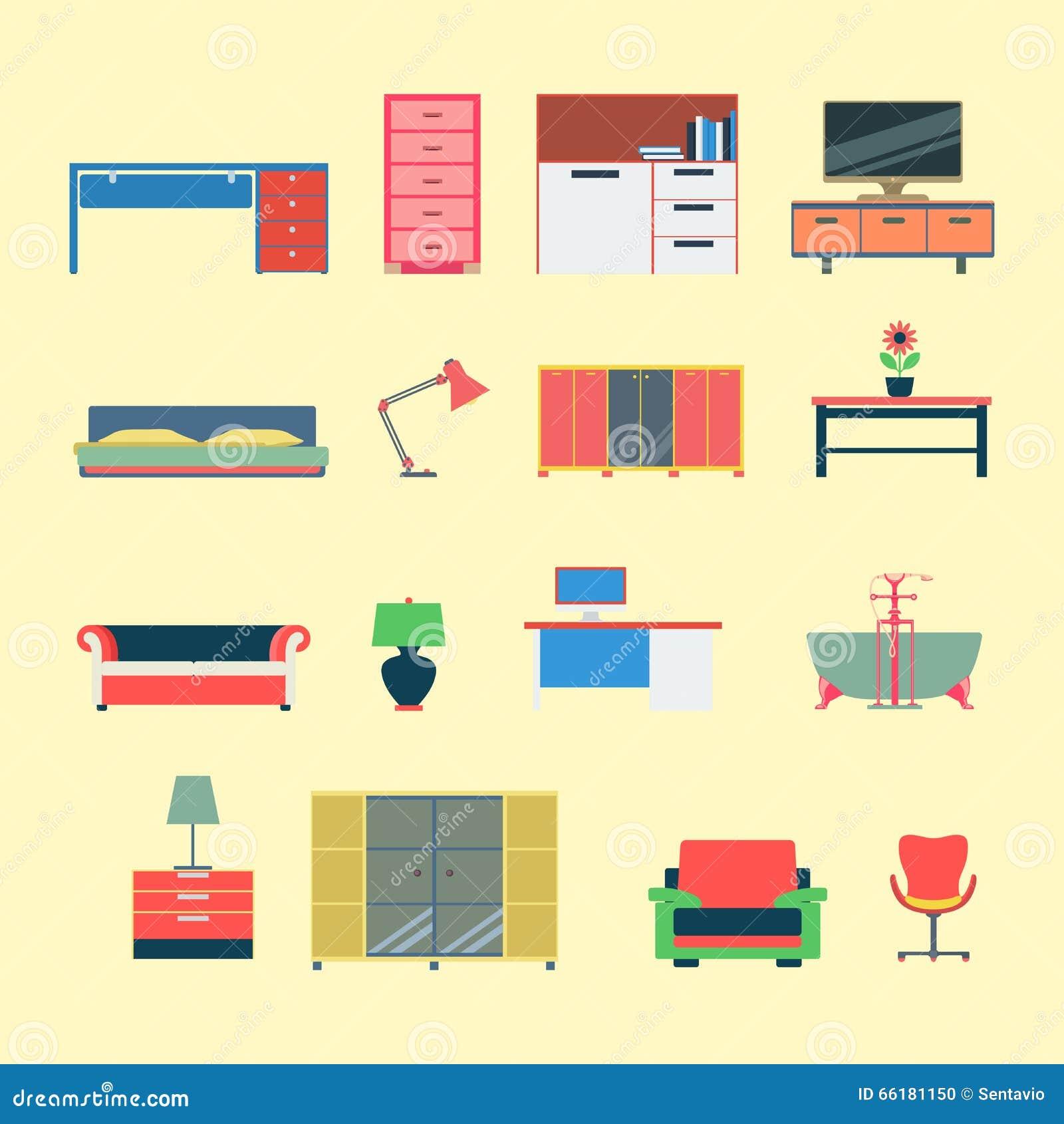 Flat furniture interior mobile web app website icon stock Furniture app
