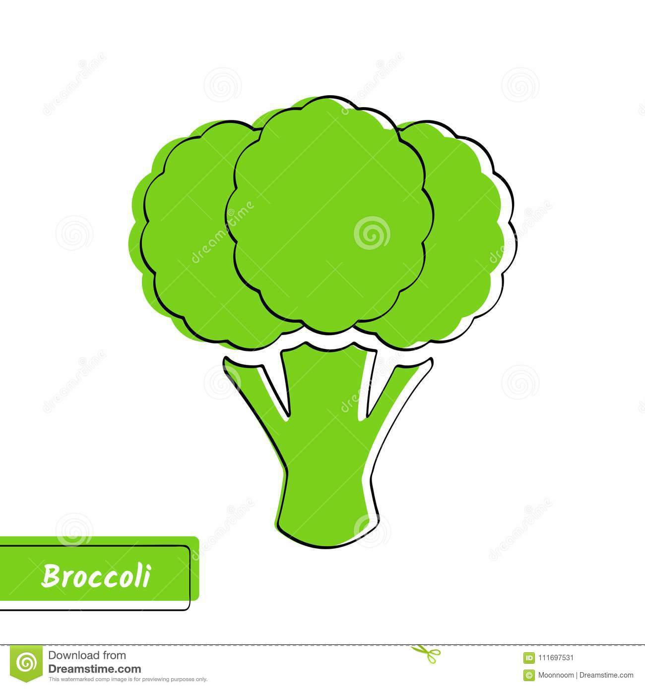 Flat Green Broccoli Market Logo With Black Contour Stock Vector