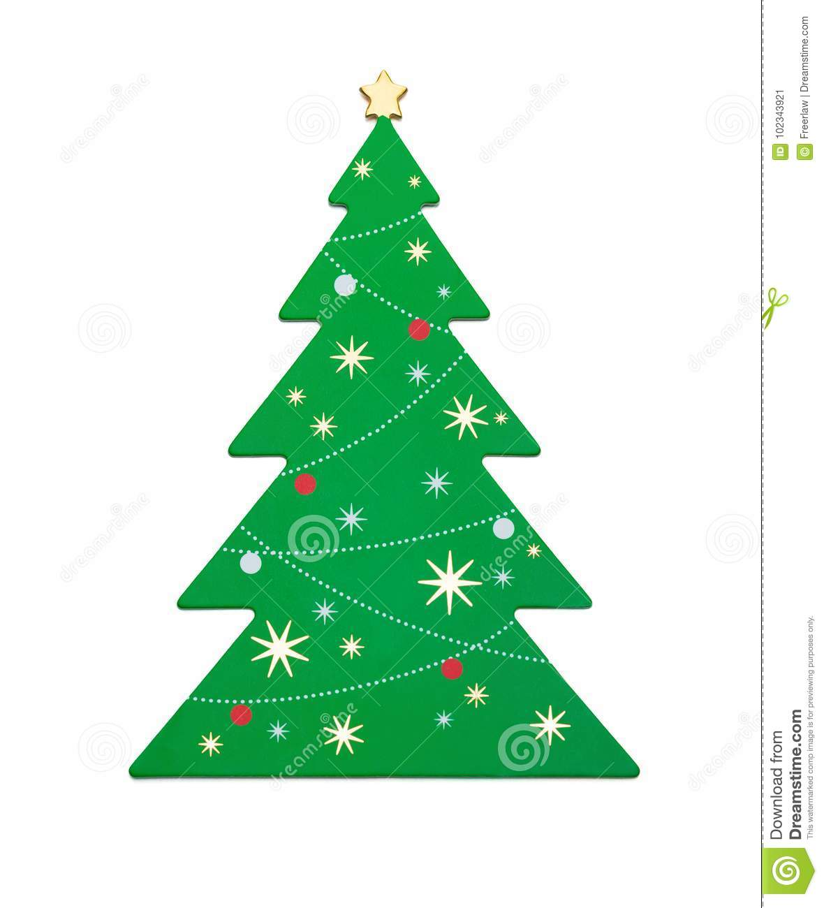 Flat green christmas tree on white background with clipping path