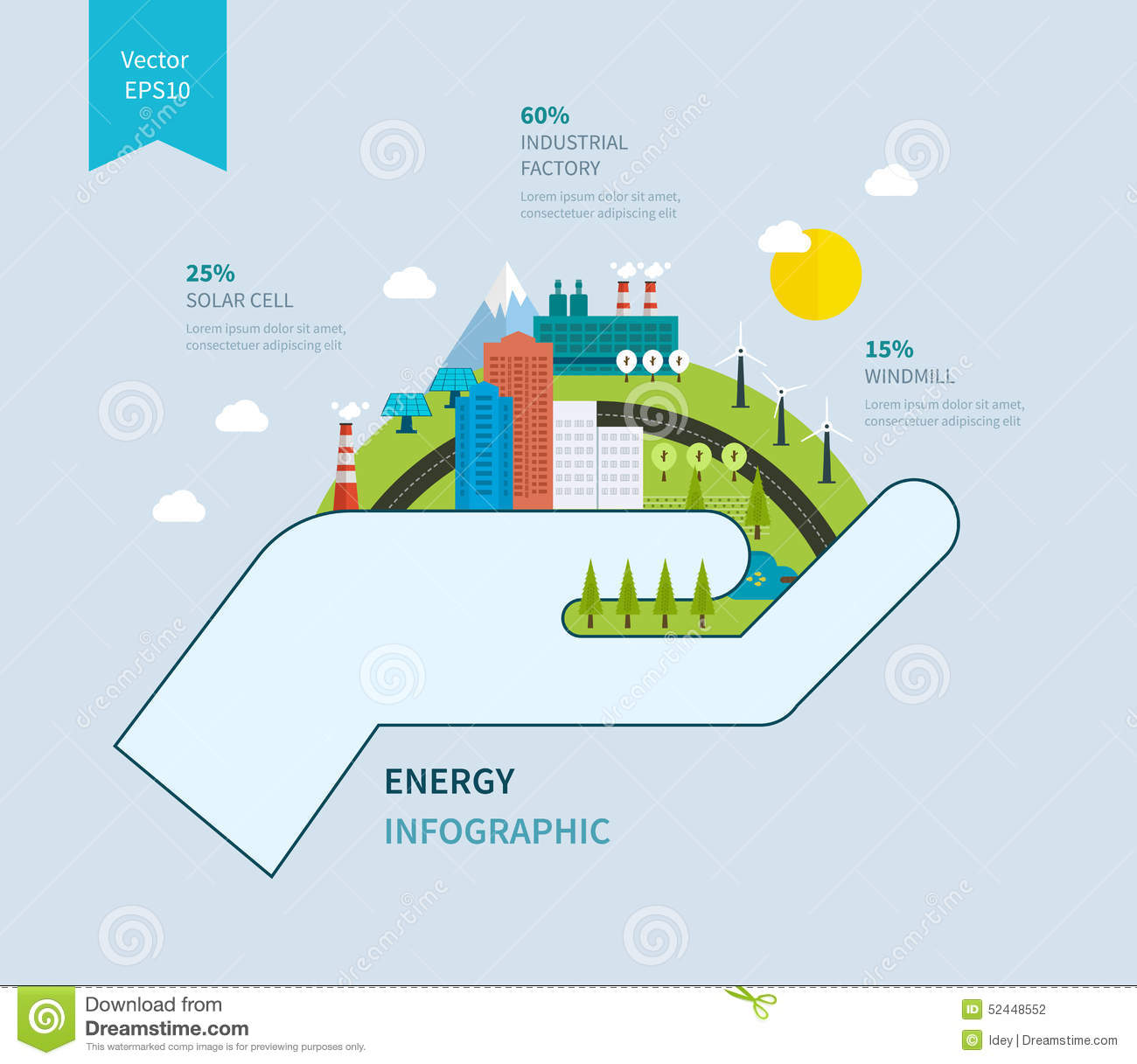 Flat Green Energy Ecology Eco Clean Planet Stock Vector