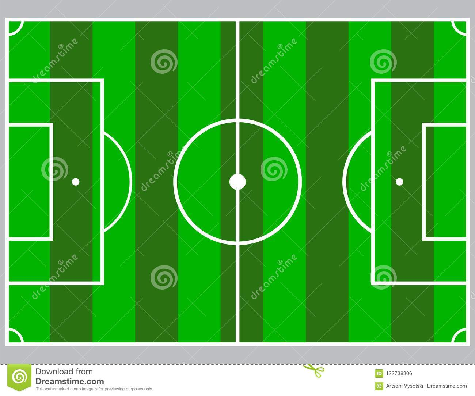 flat green field football grass soccer field with line template
