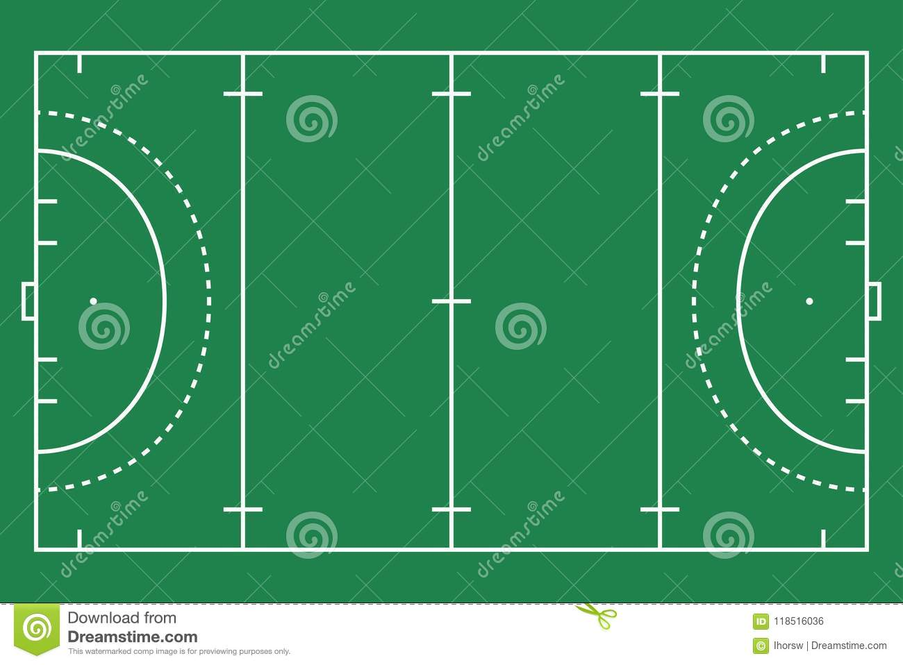 Flat Green Field Hockey Grass. Hockey Field With Line Template ...