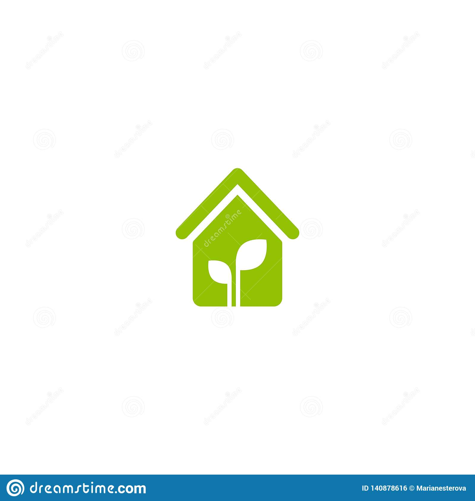 Terrific Flat Green Home With Green Leaf Inside Simple Silhouette Of Download Free Architecture Designs Scobabritishbridgeorg