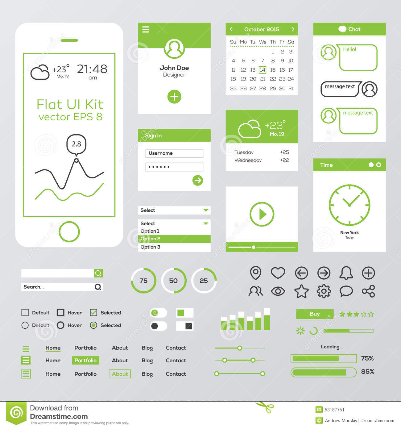 flat green mobile web ui kit stock illustration illustration of