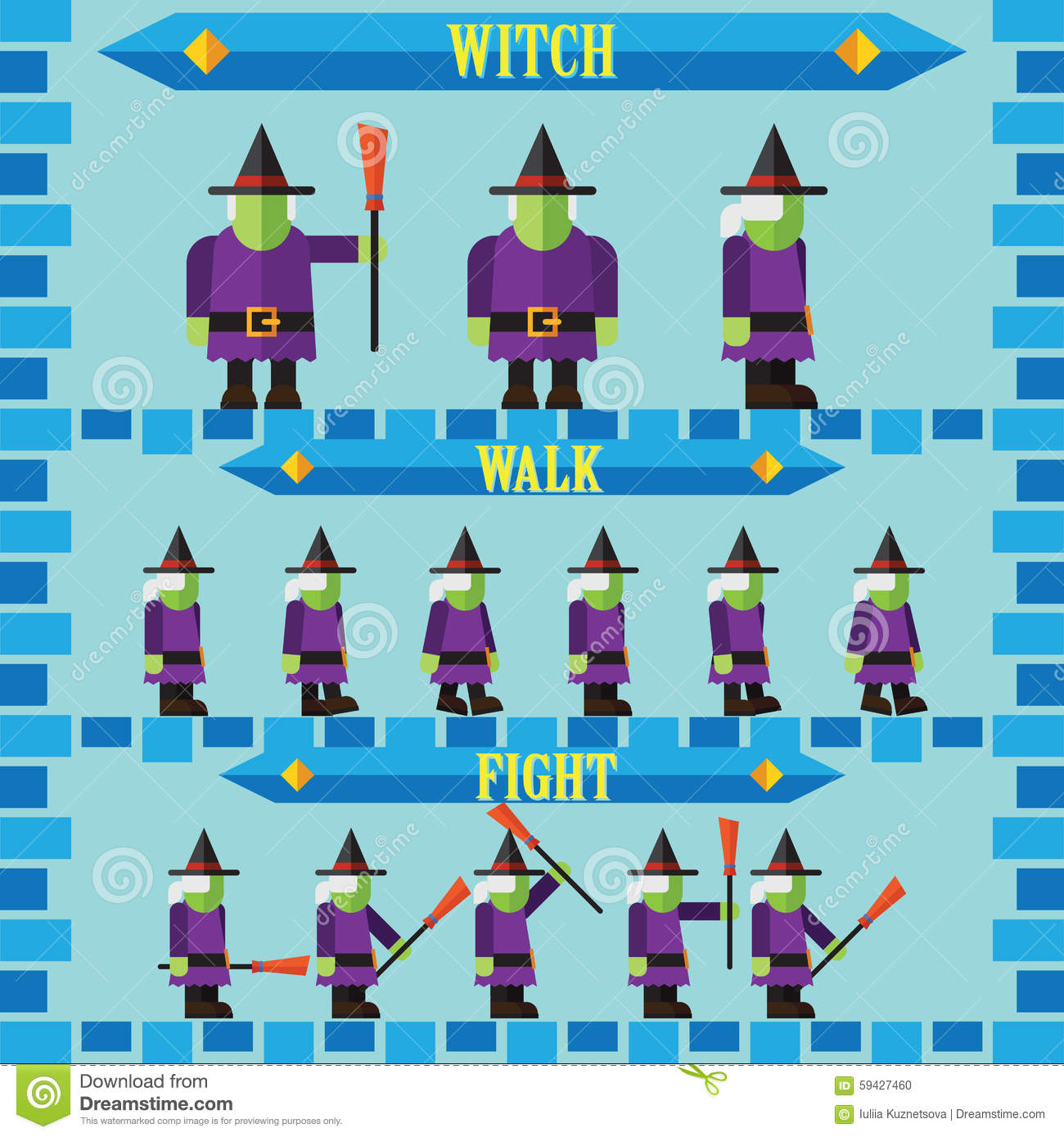 Flat Design Character Download : Flat halloween game character for design witch stock