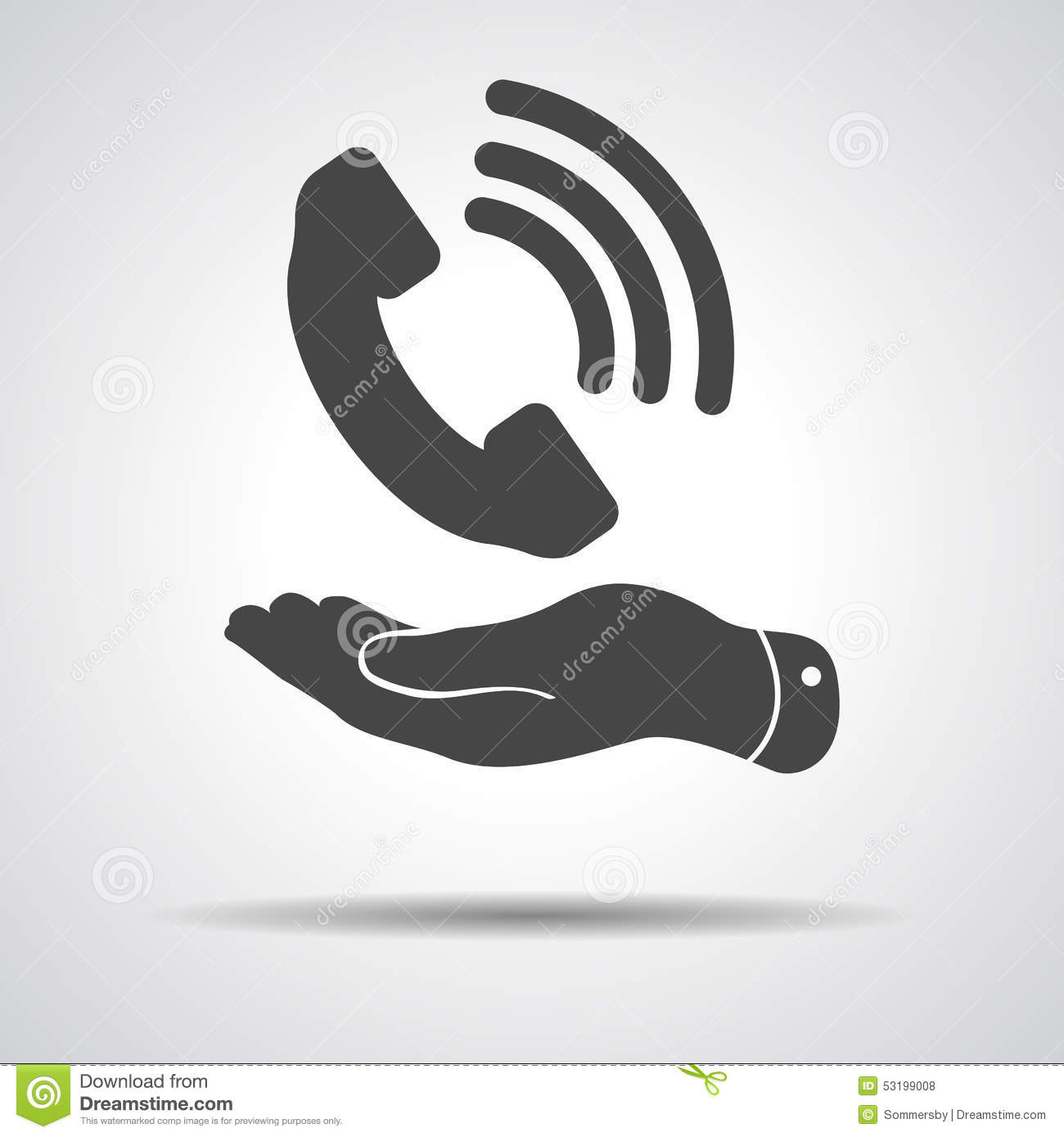 Flat hand showing black phone receiver icon