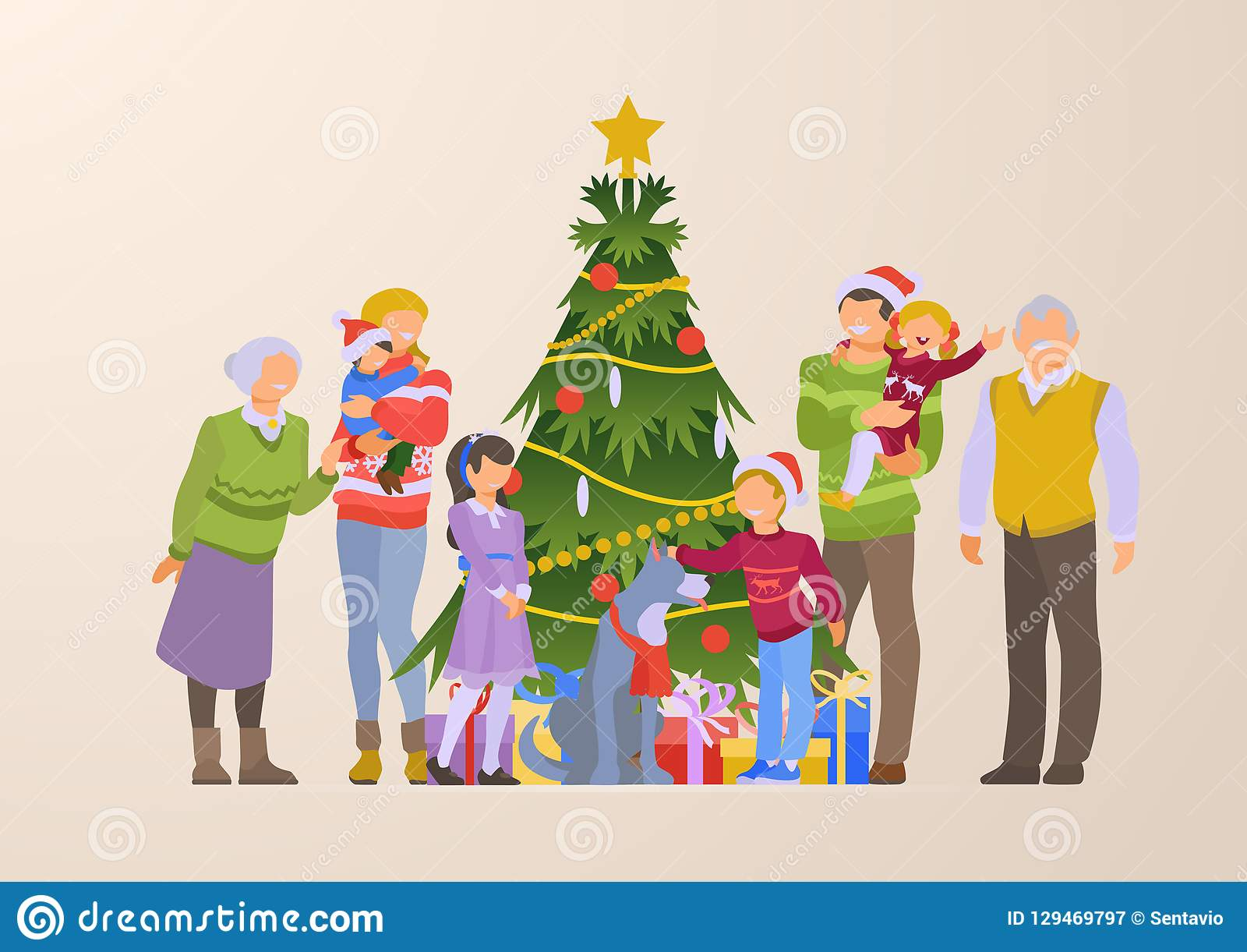Flat Happy Family Grandparents Christmas Tree Gift Stock ...