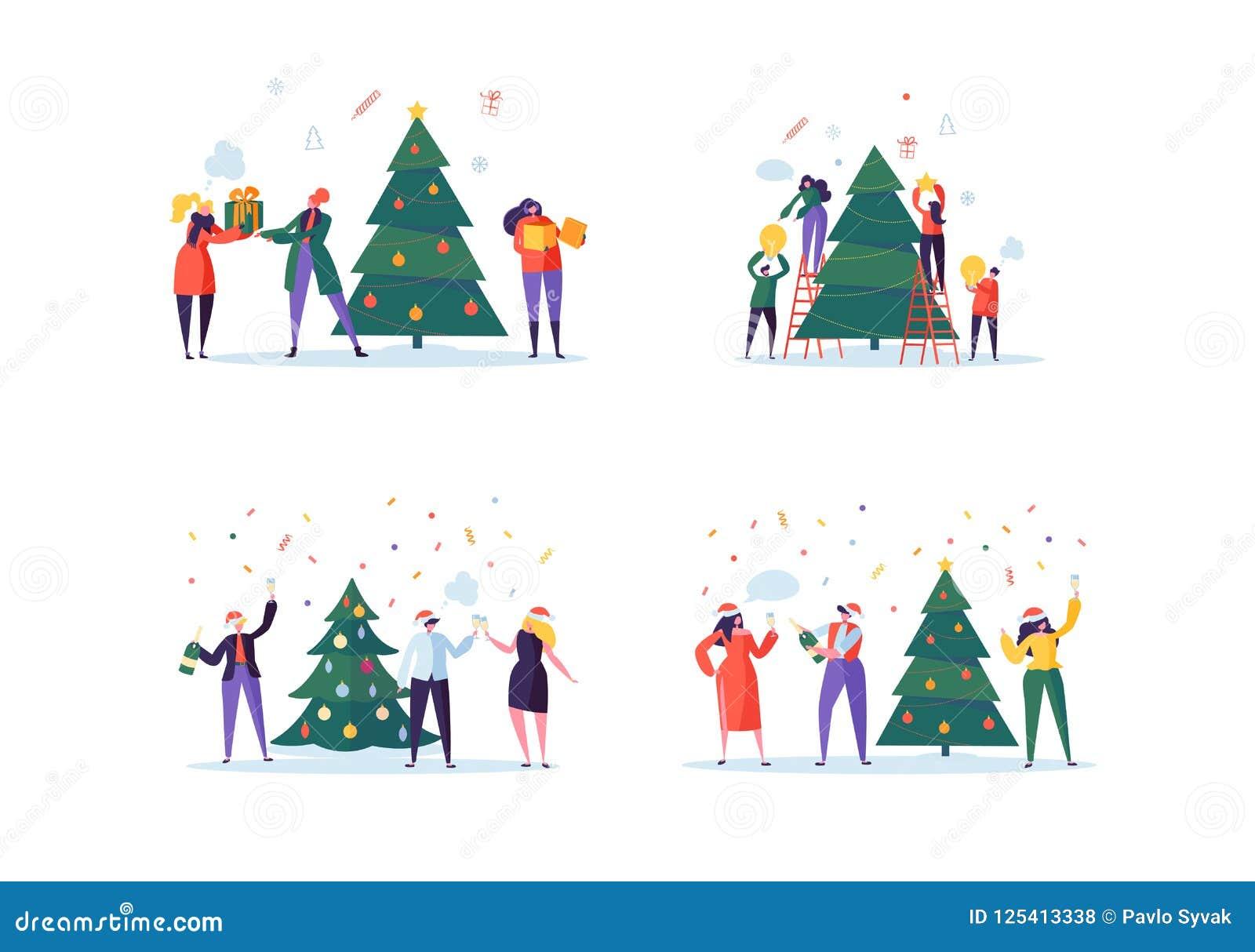 Flat Happy People Decorating Christmas Tree. Merry Xmas Holiday ...