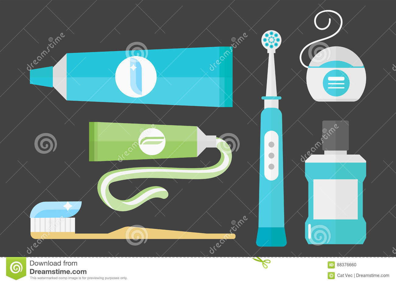 Flat health care dentist chemical color medical glue tool healthcare system concept and medicine toothpaste hygiene