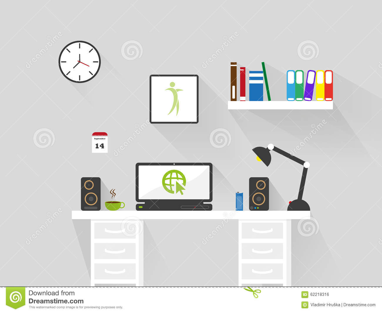 Flat home office workspace interior long shadow vector for Office design vector