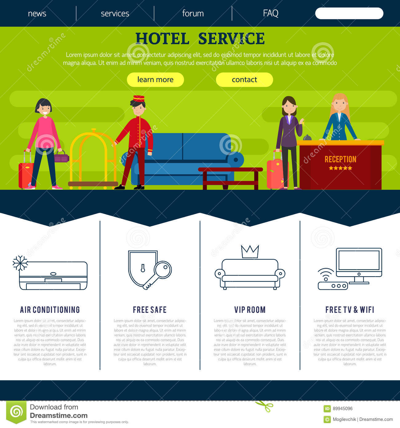 Web safe colors list - Flat Hotel Web Page Template