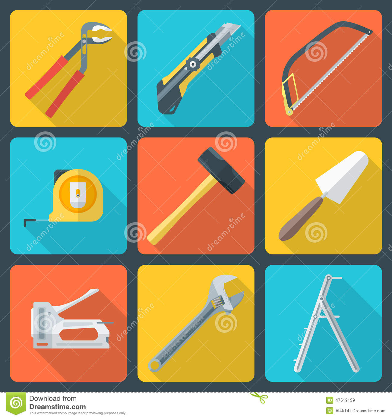 Flat house remodel tools icons stock vector image 47519139 for House remodeling tools
