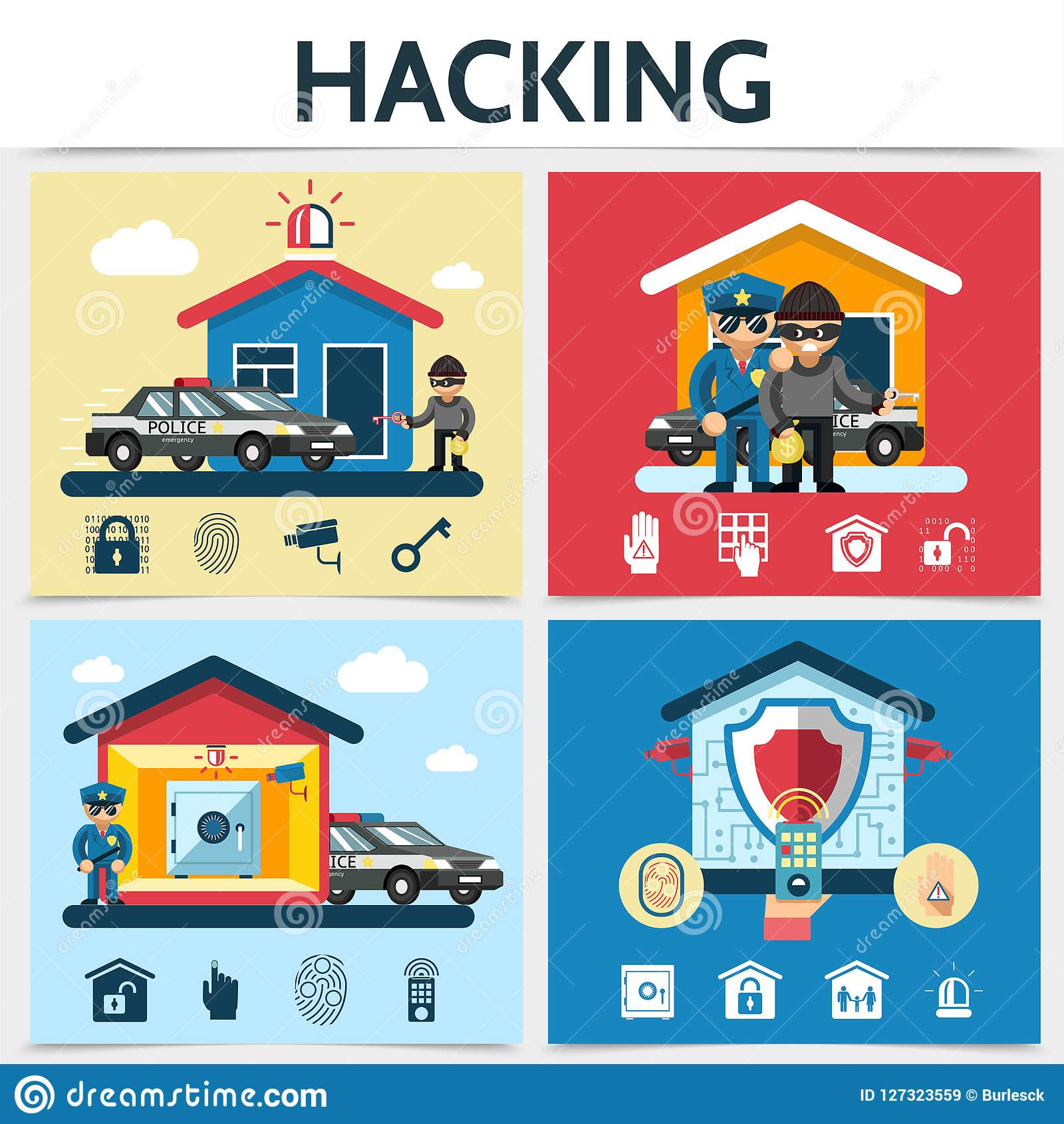 Flat House Security System Hacking Concept Stock Vector