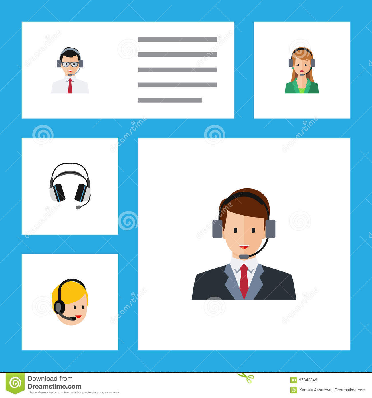 Flat Icon Call Set Of Secretary, Call Center, Hotline And Other Vector Objects. Also Includes Headphone, Human, Center