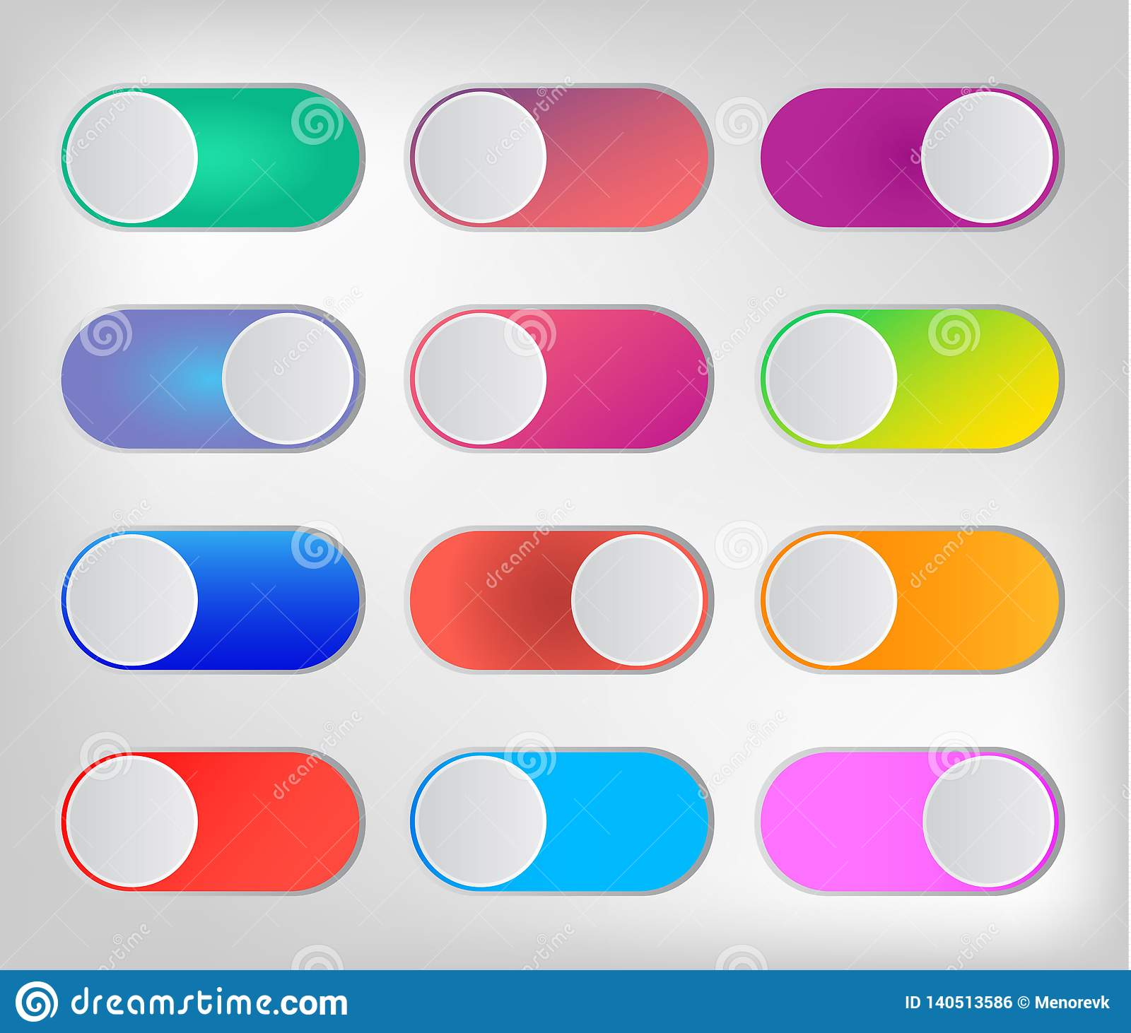 Flat icon colorful switchers onoff isolated on white background.