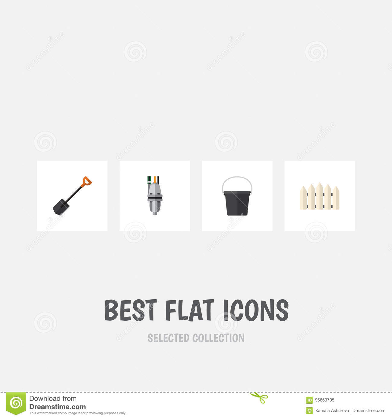 a010fa666 Flat Icon Dacha Set Of Spade, Pail, Pump And Other Vector Objects. Also  Includes Tool, Fence, Spade Elements. Royalty-Free Vector