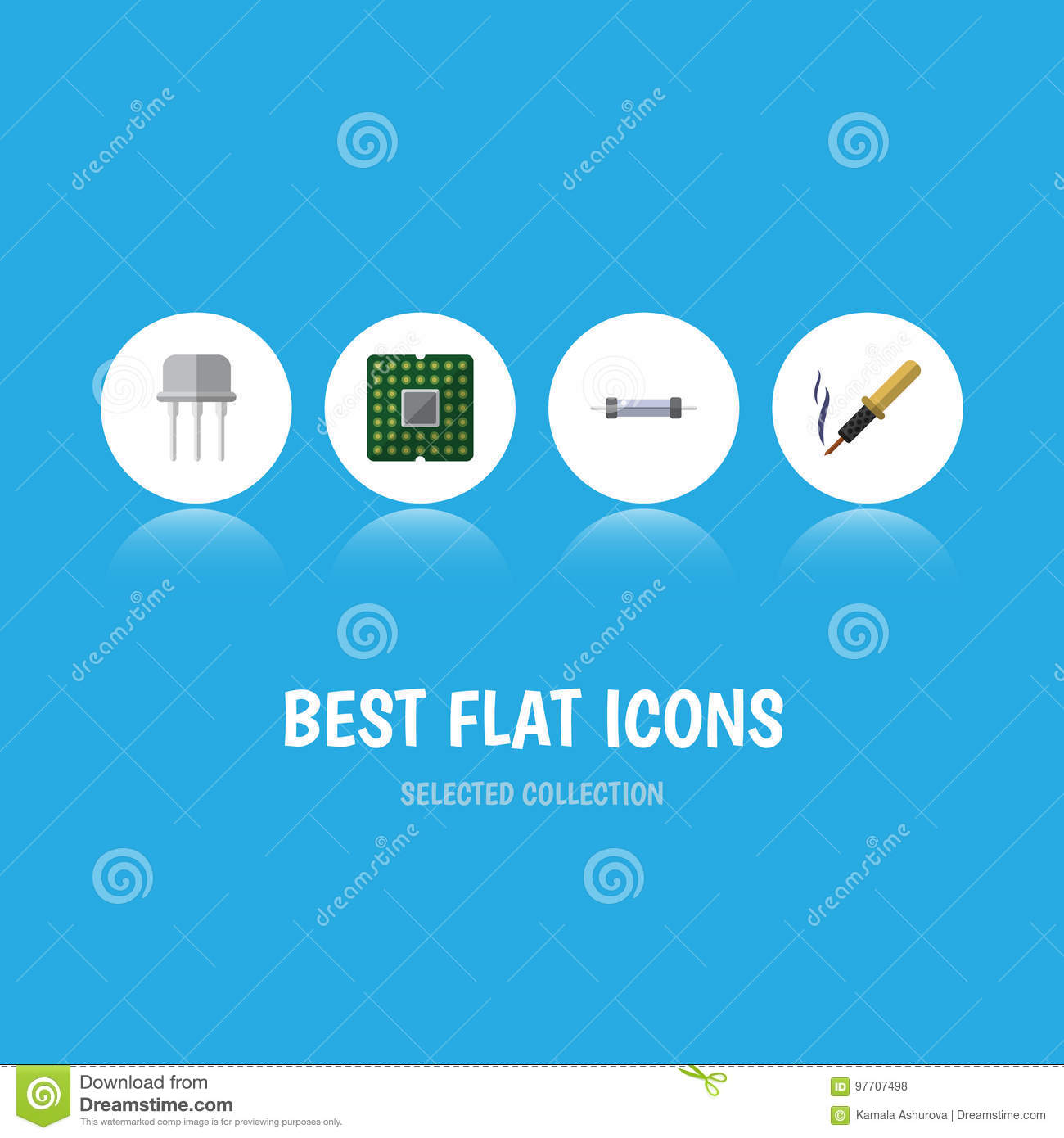 Flat Icon Electronics Set Of Repair, Resistor, Unit And Other Vector ...