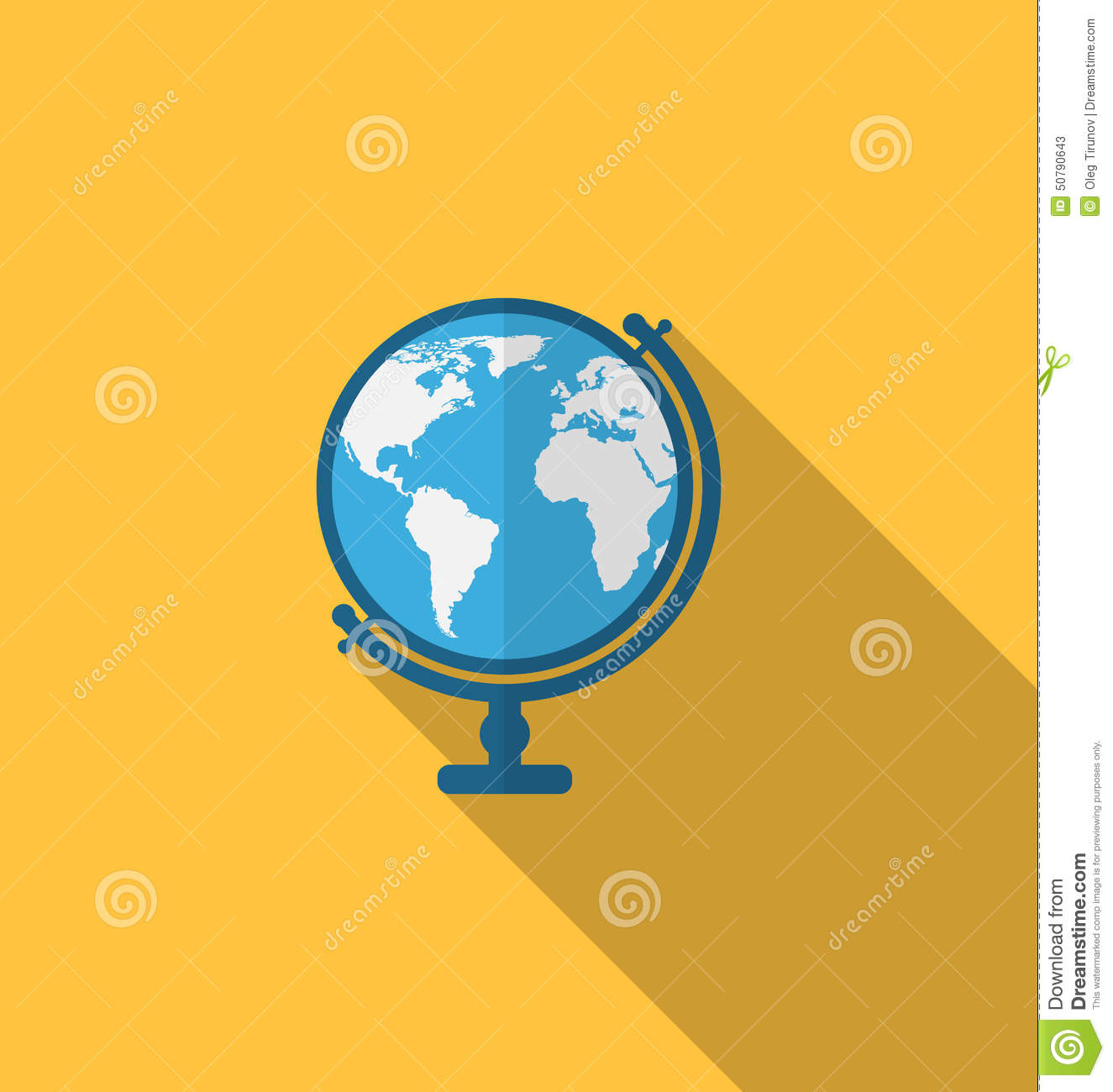 Flat Icon Of Globe With Long Shadow Style Stock Vector ...