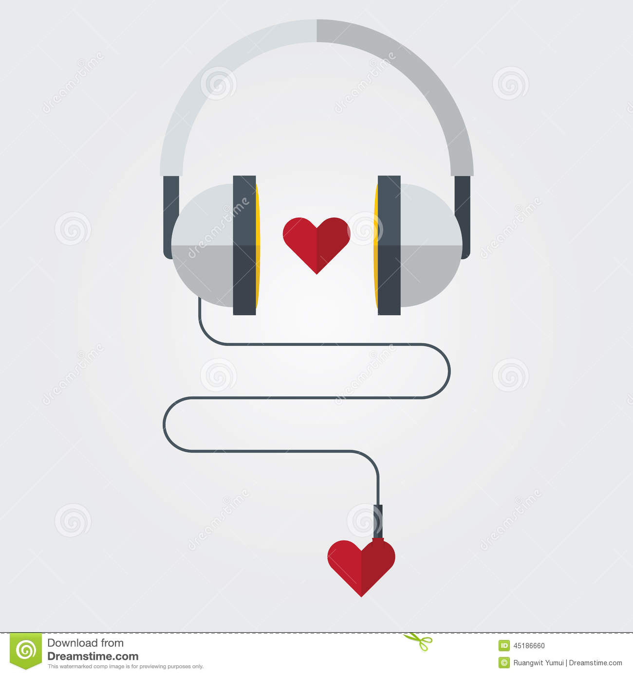 Flat icon of headphone with red heart on love music theme vector flat icon of headphone with red heart on love music theme vector ccuart Image collections