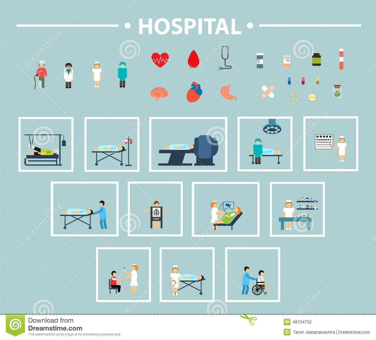 Flat Icon Hospital Stock Vector Image 48124752