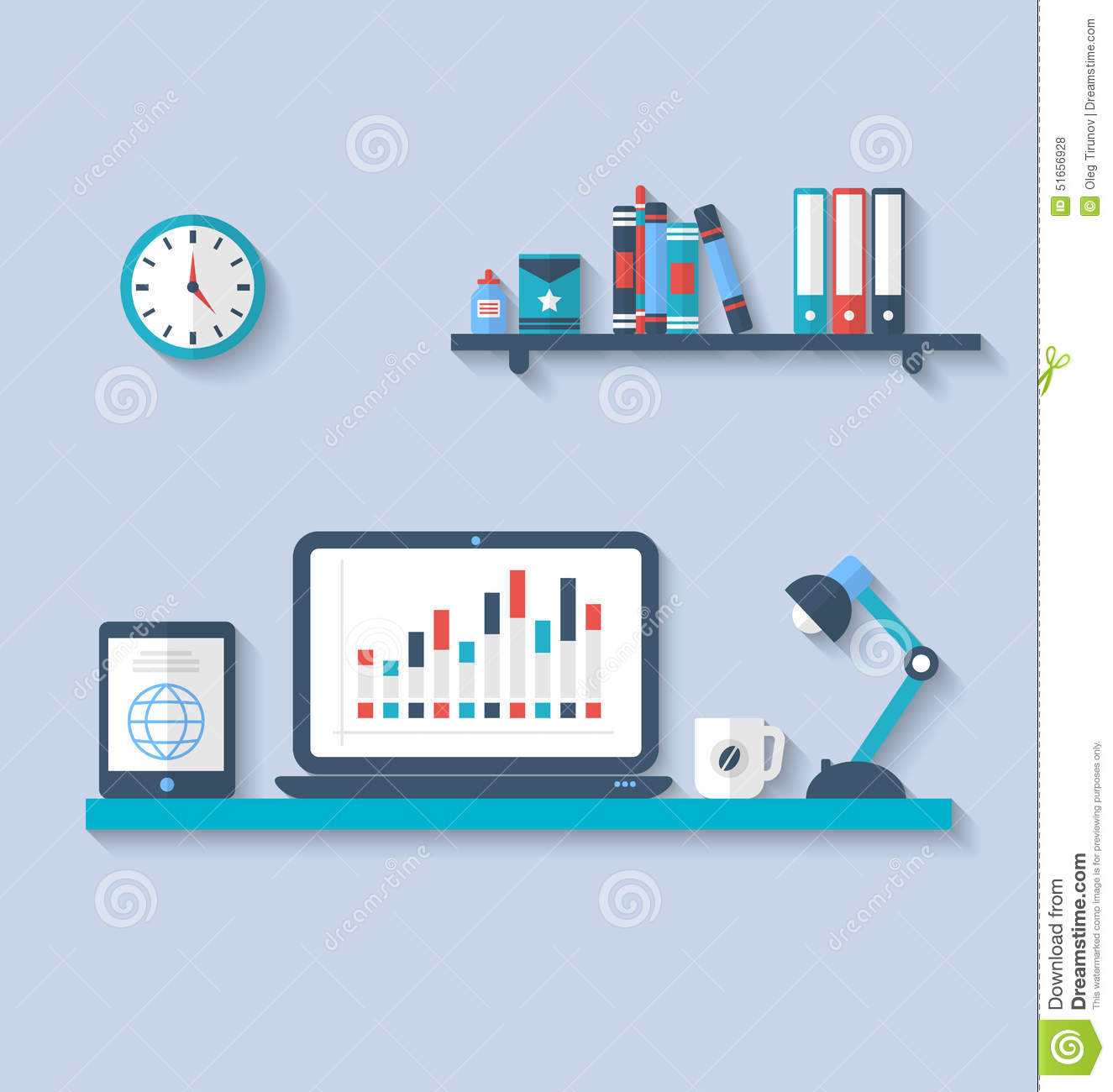 Flat icon of modern office interior with designer desktop for Interior design application for pc