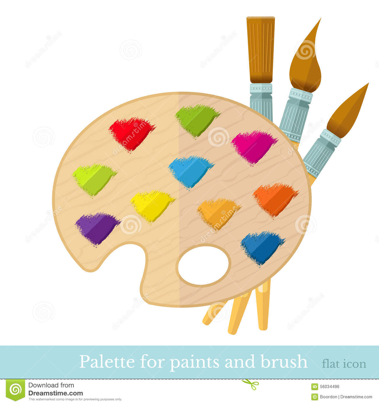 flat icon paintbrushs with all colour brushstroke on palette