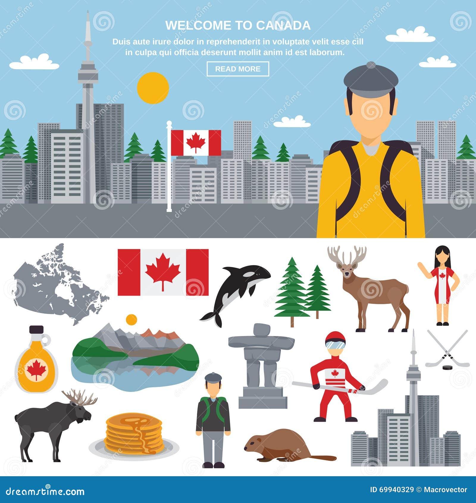 Flat Icon Set Of Canada Stock Vector Illustration Of Flat 69940329