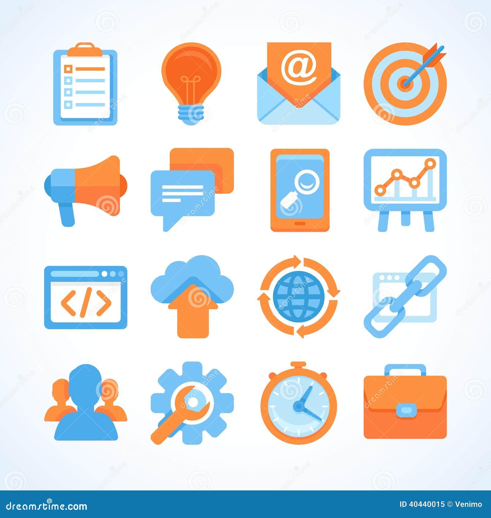 Royalty Free Stock Photo Flat Icon Set Seo Symbols Inter  Marketing Design Elements Online Business Signs Image40440015