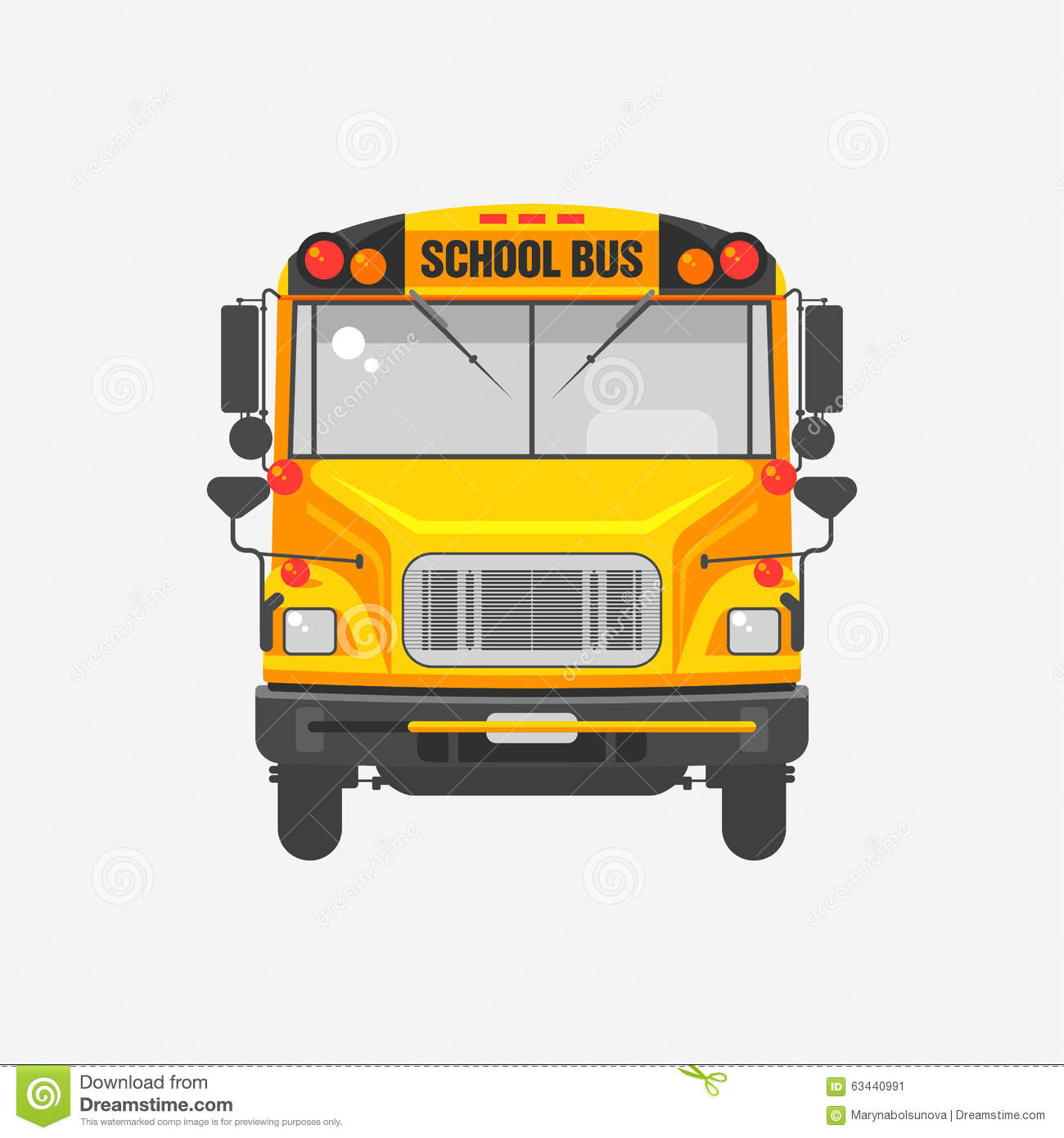 Flat Icon Yellow School Bus Stock Vector - Image: 63440991