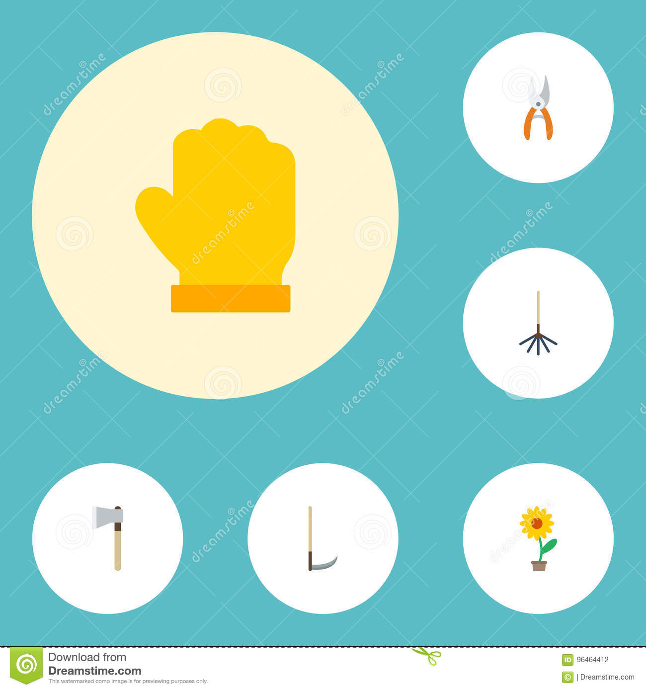 Flat Icons Axe Flowerpot Latex And Other Vector Elements Set Of
