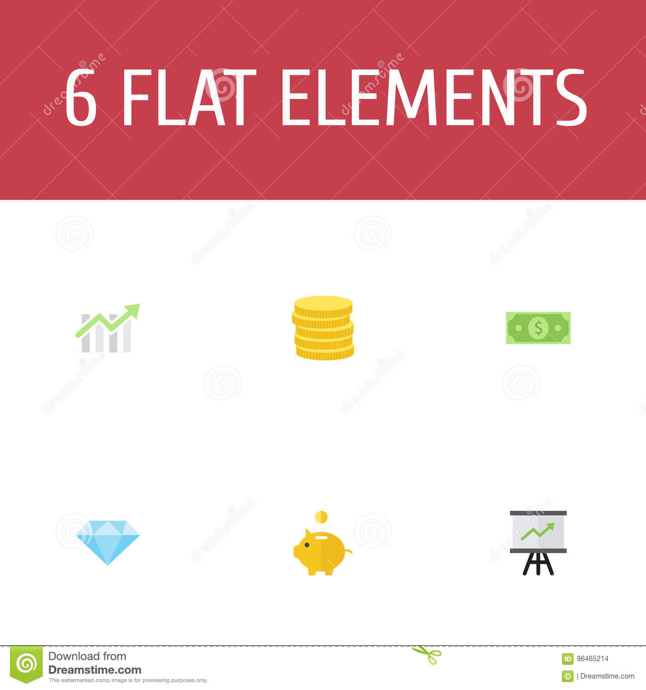 Flat Icons Bar Diagram Small Change Growing Chart And Other Vector