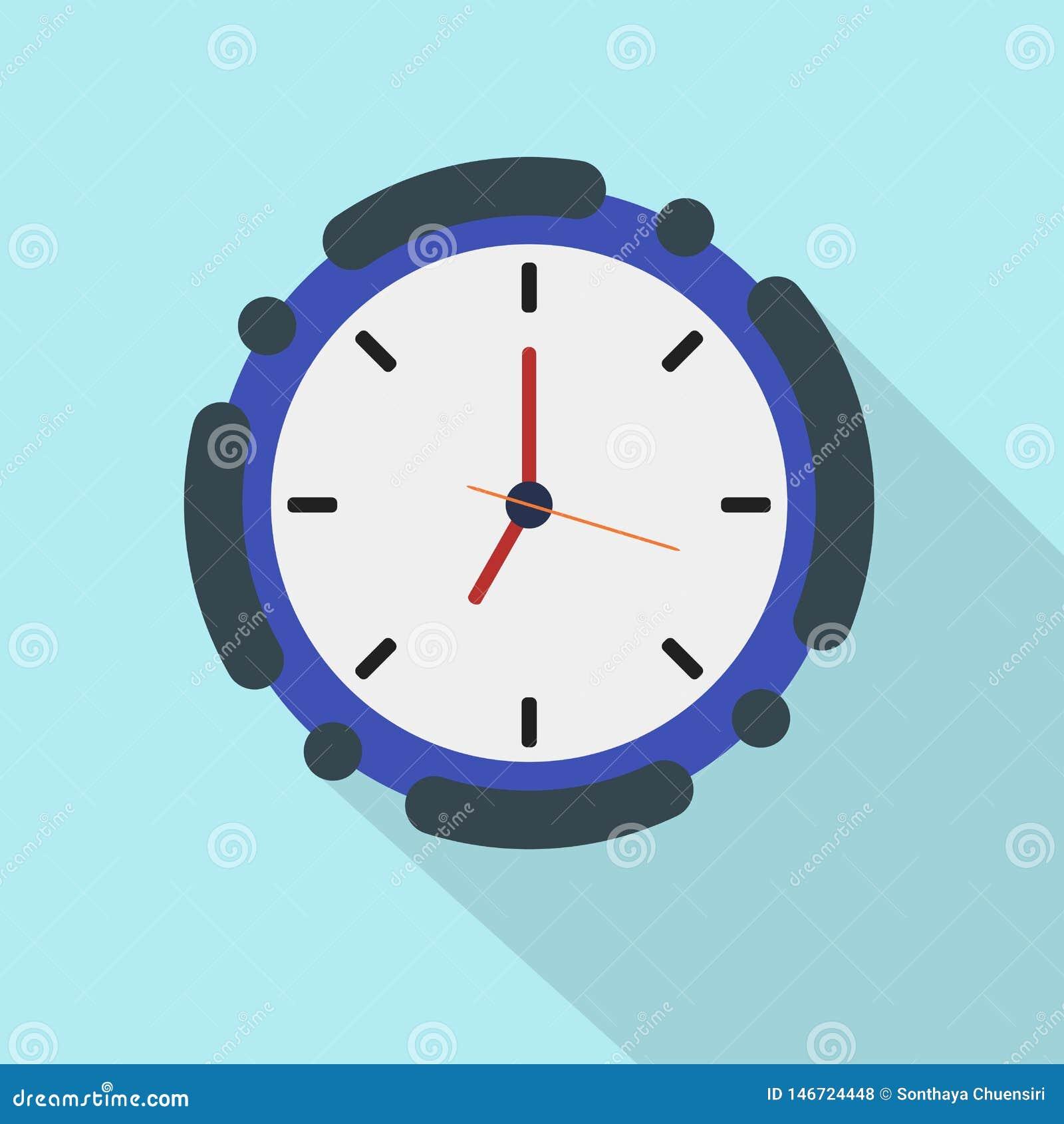 Flat icon clock on blue background