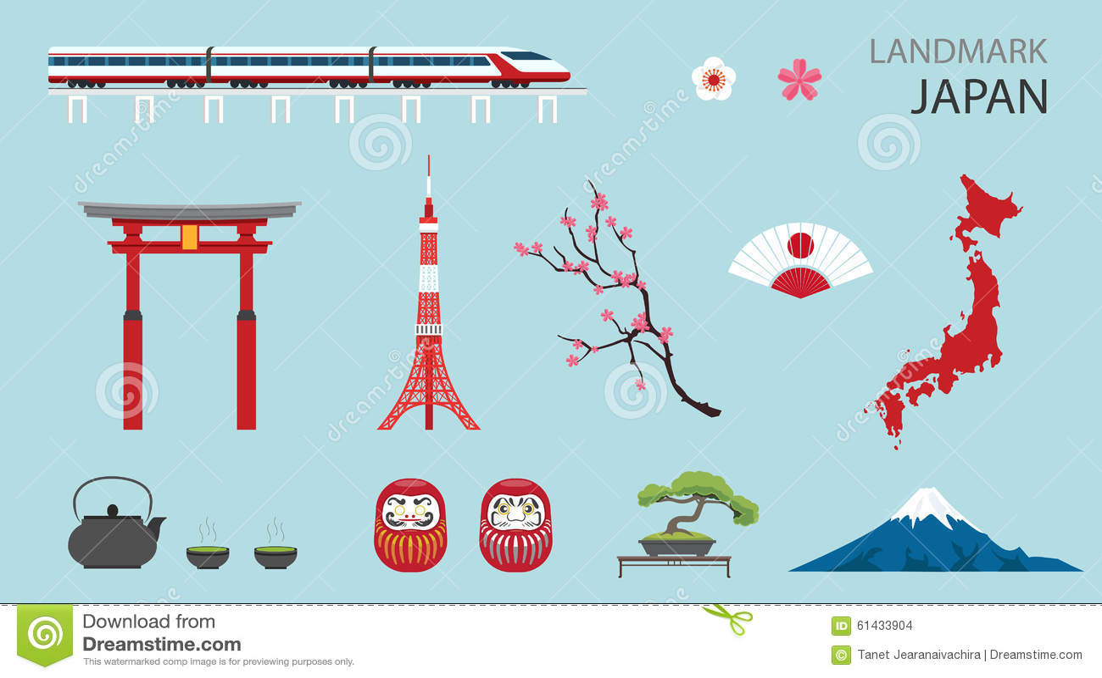 Flat icons design landmark japan stock vector image for Landmark design